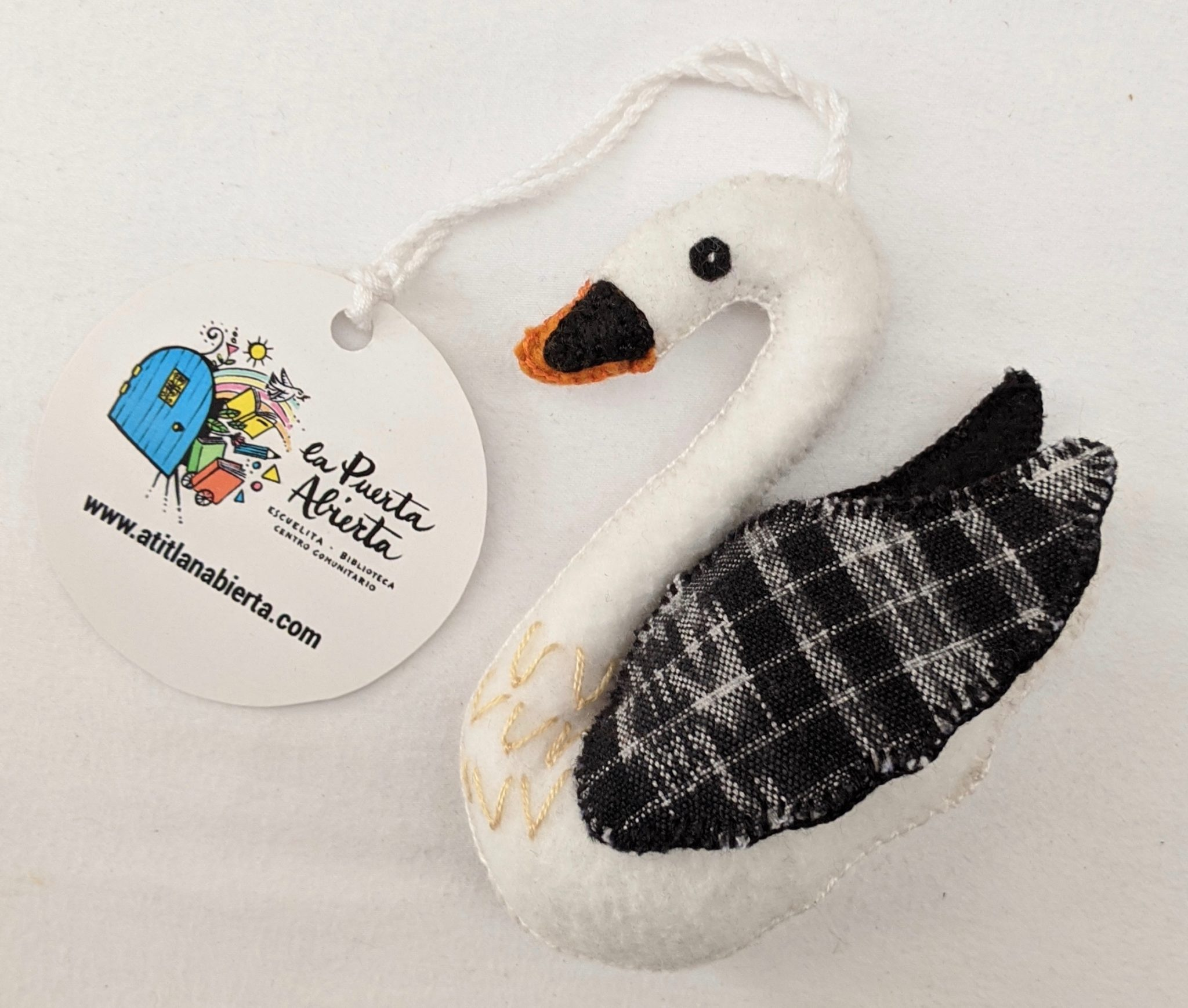 Swan Ornament - Felt and Repurposed Traditional Fabric
