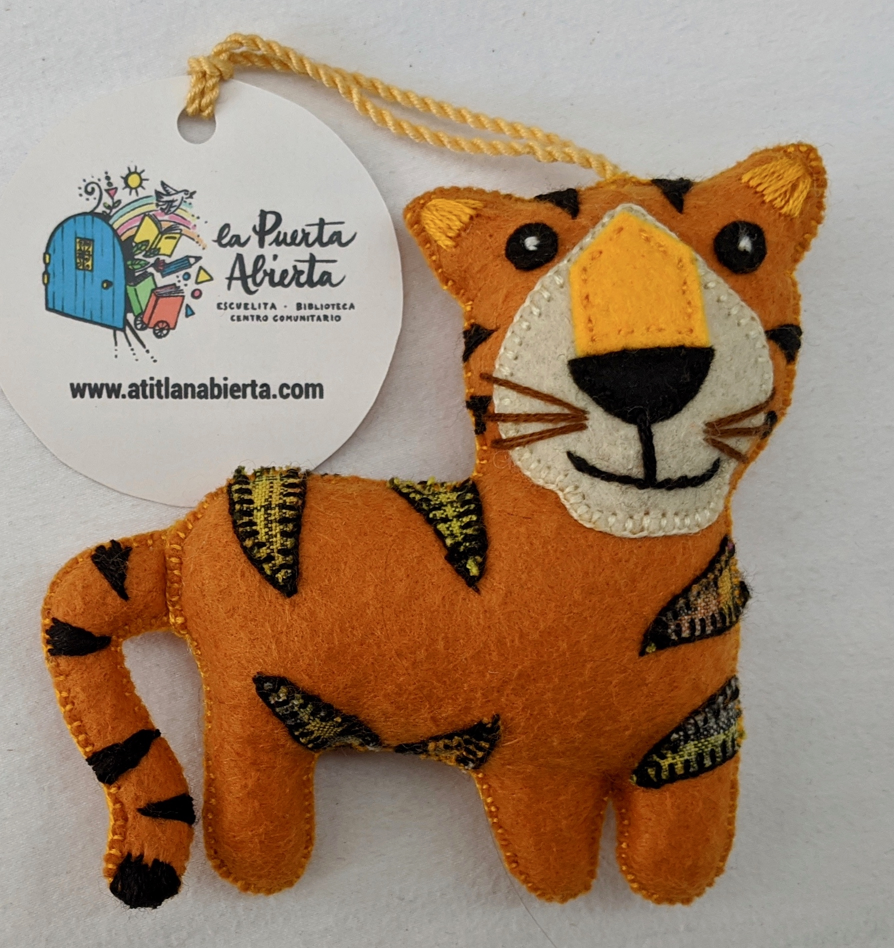 Tiger Ornament - Felt and Repurposed Traditional Fabric