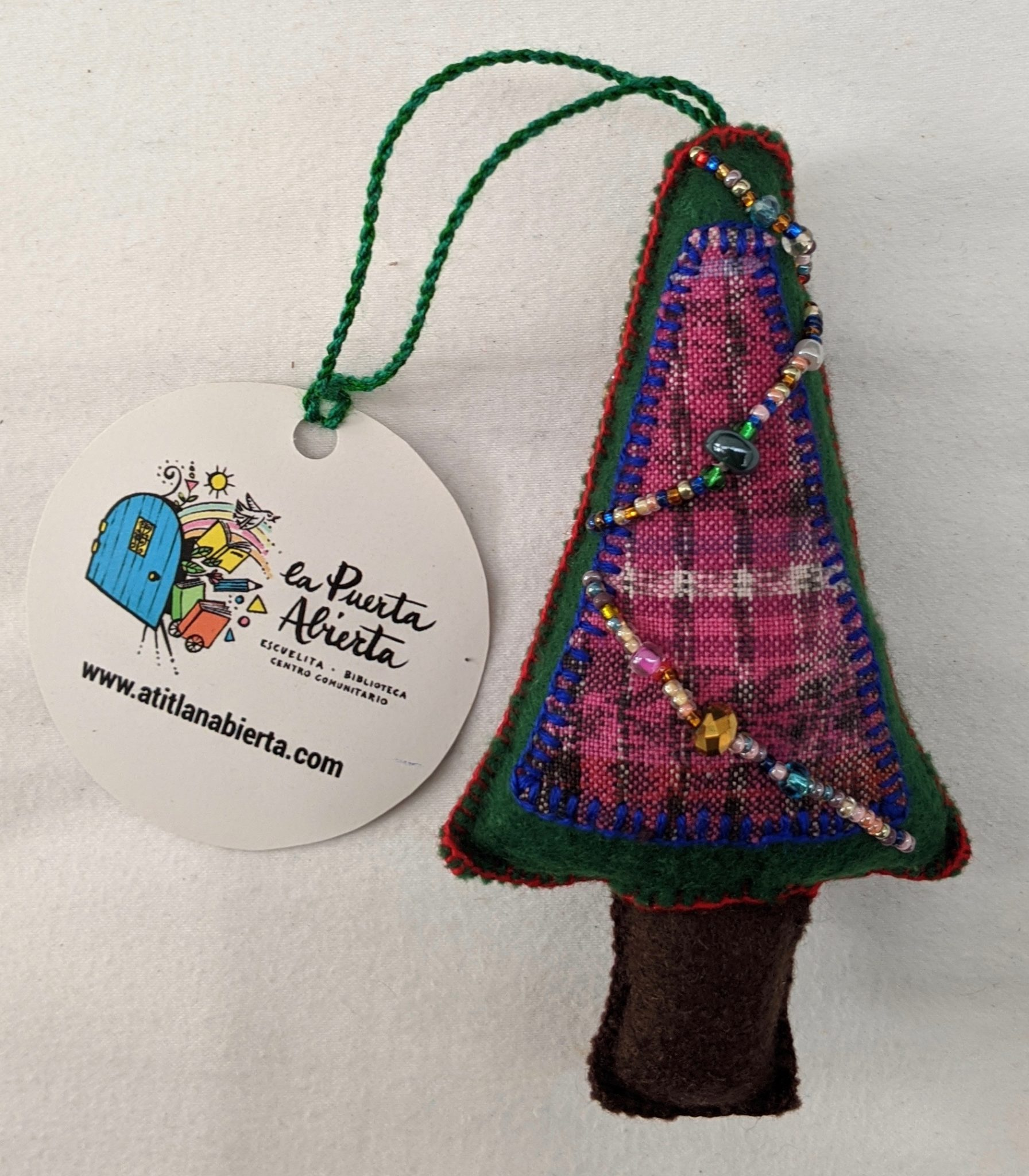 Christmas Tree Ornament - Felt and Repurposed Traditional Fabric