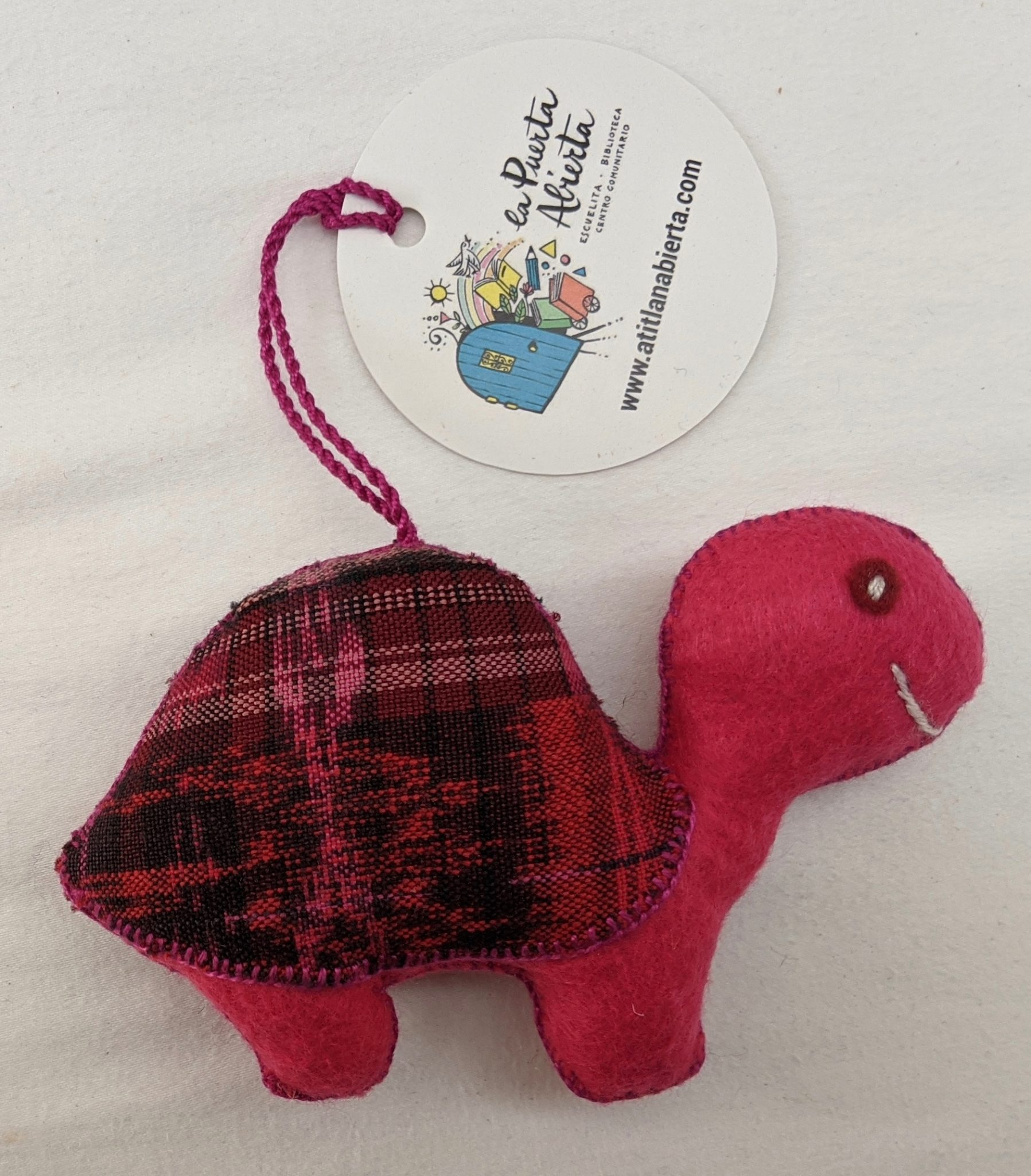 Turtle Ornament - Felt and Repurposed Traditional Fabric