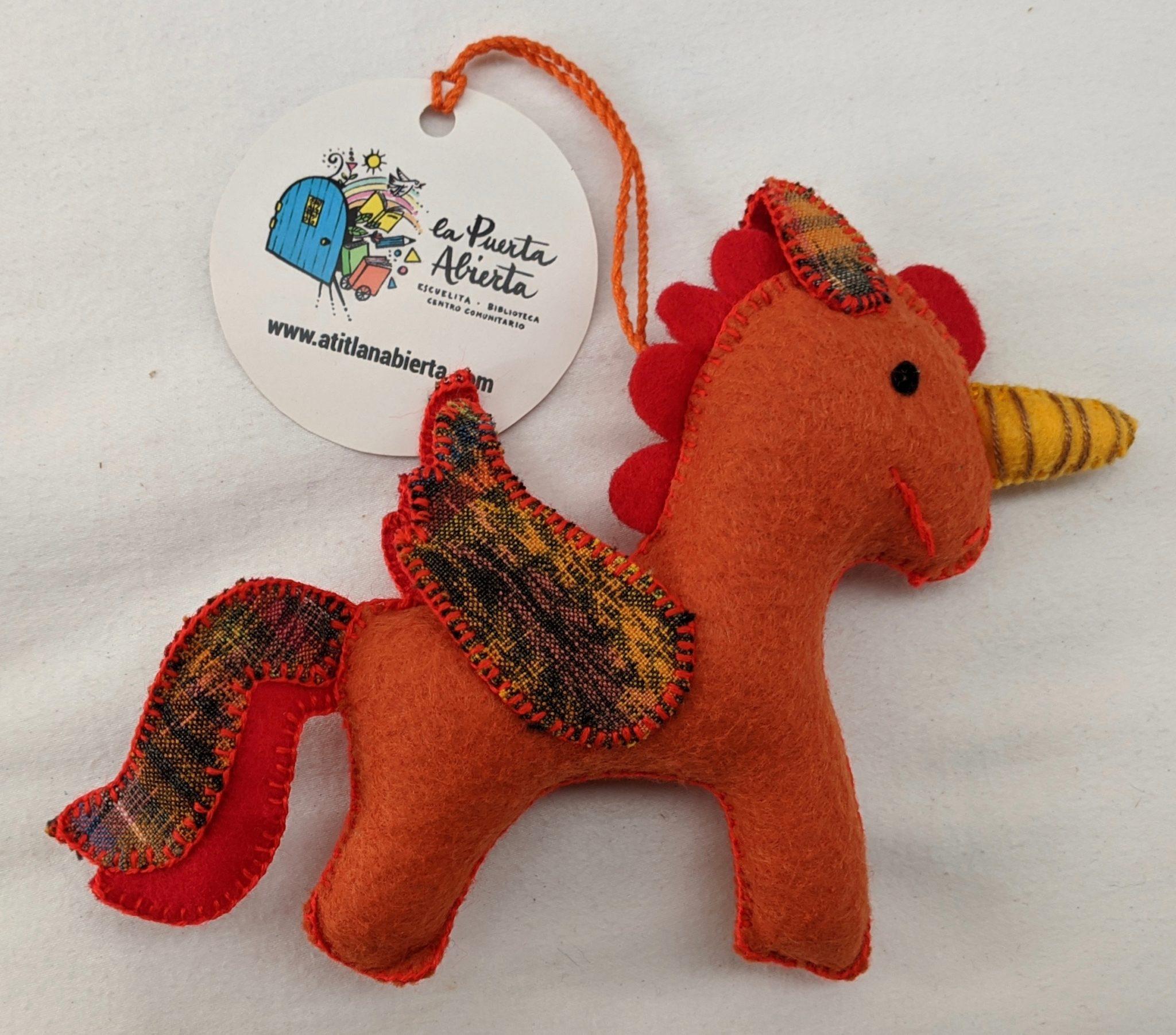 Unicorn Ornament - Felt and Repurposed Traditional Fabric