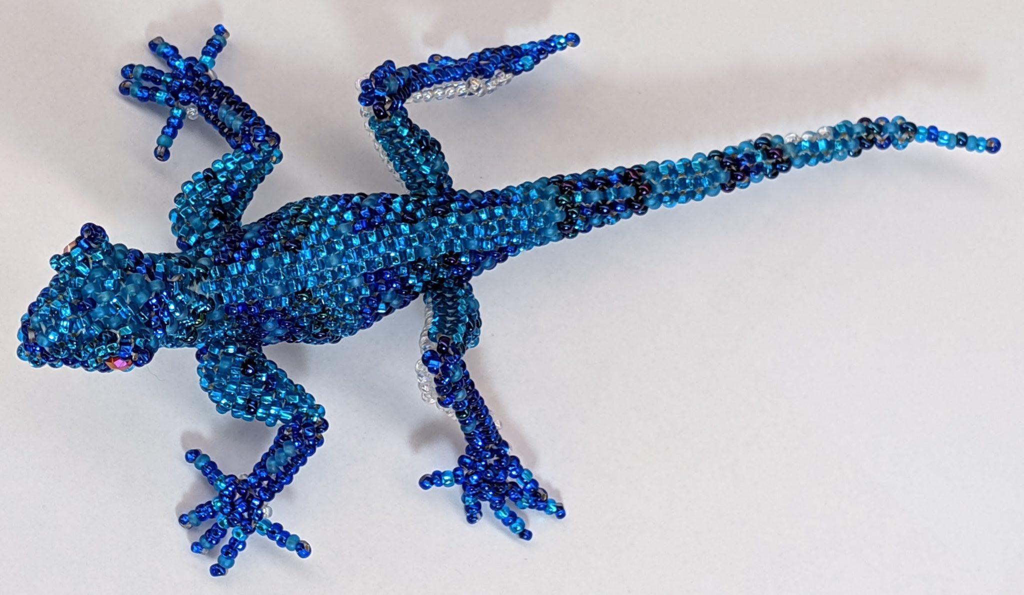 Gecko Beaded Pin - Blues