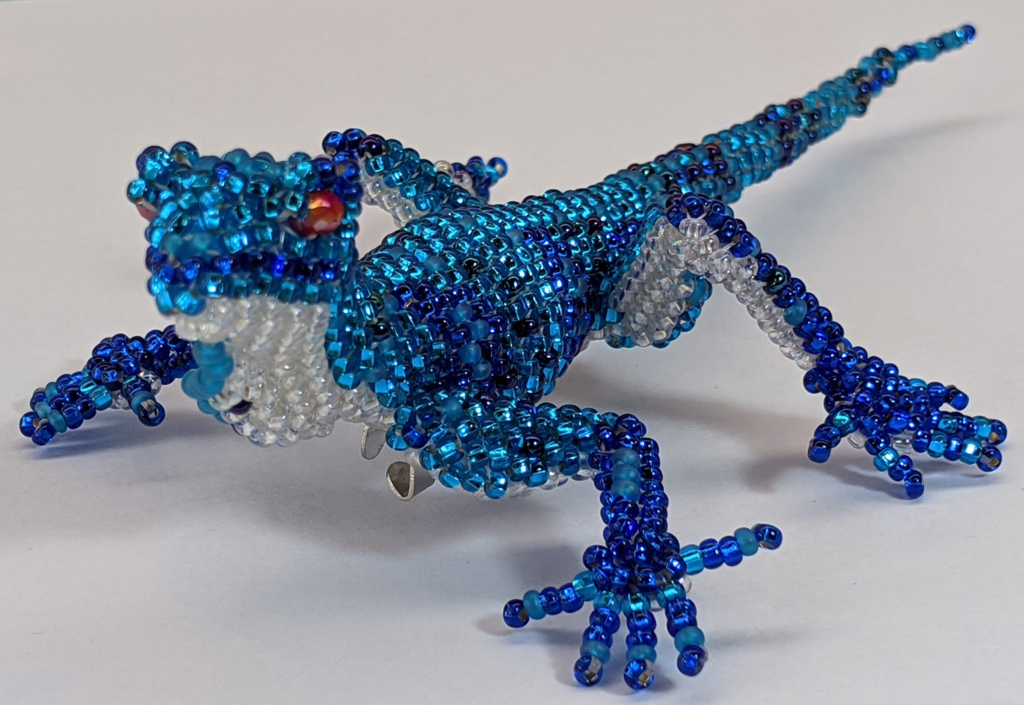 Gecko Beaded Pin - Blues