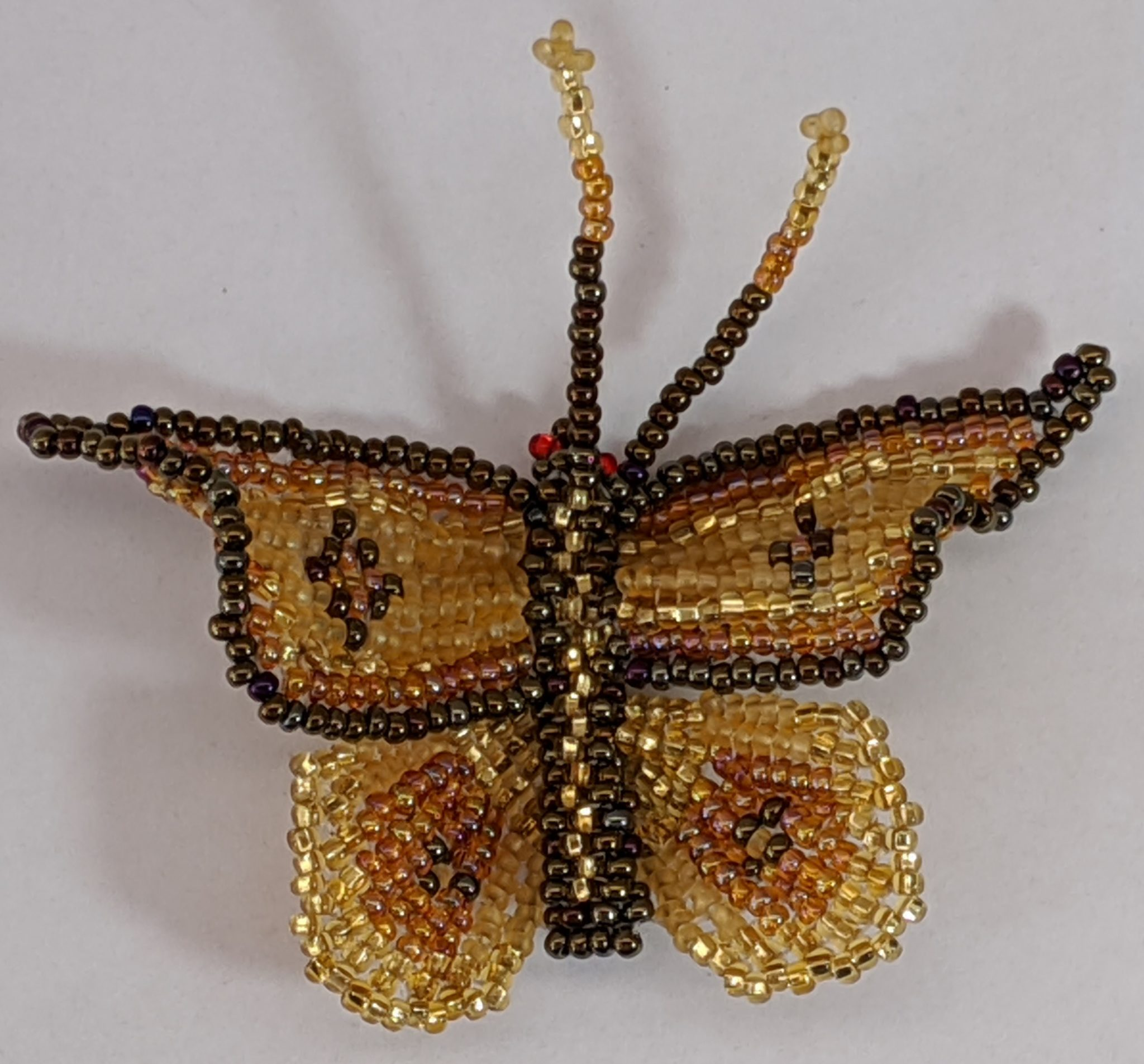 Butterfly Beaded Pin - Gold