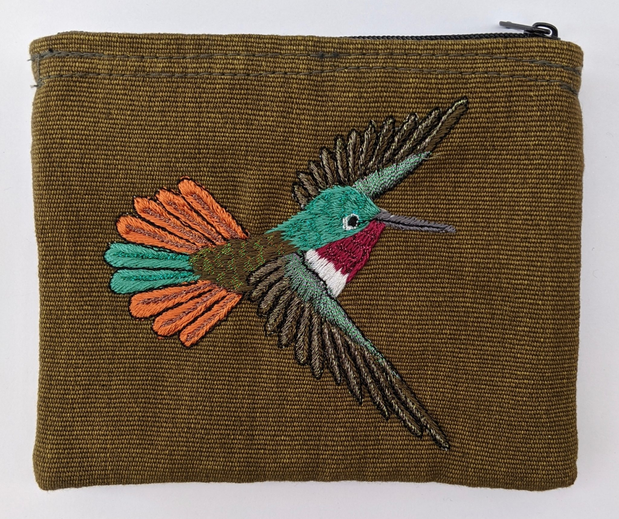 Ruby Throated Hummingbird Thread Painted Cotton Coin Purse