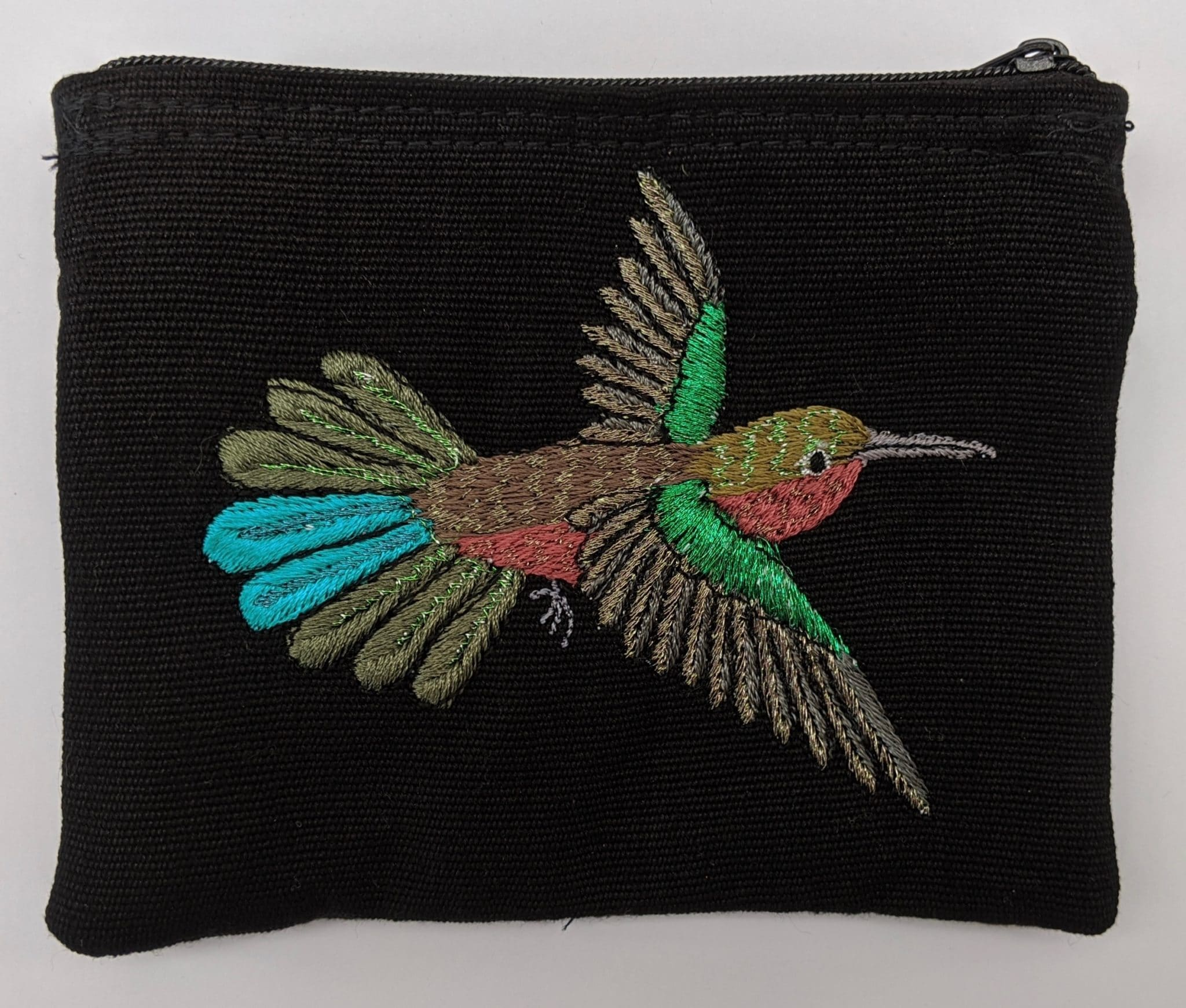 Hummingbird Thread Painted Cotton Coin Purse
