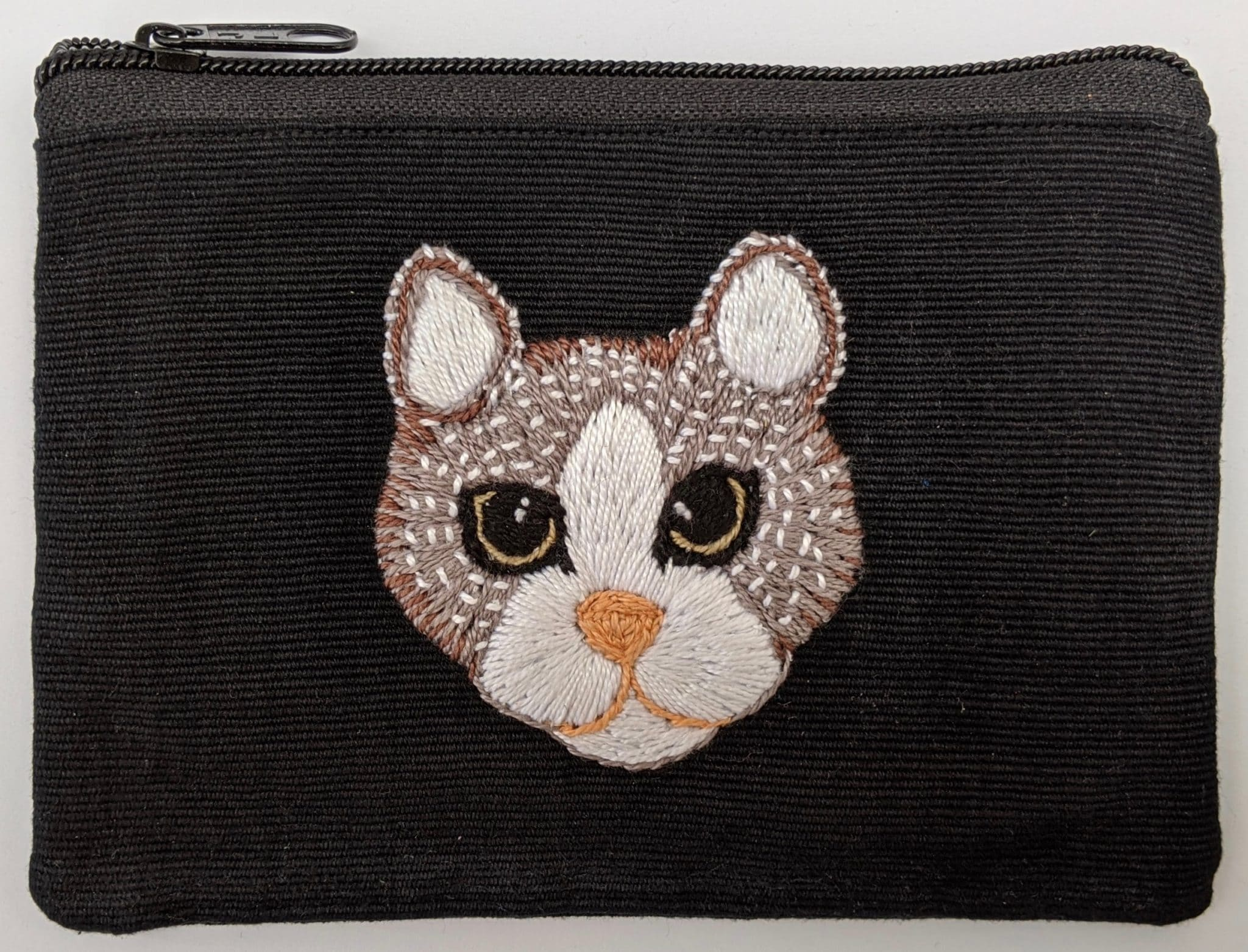 Kitty Cat Hand Embroidered Cotton Coin Purse