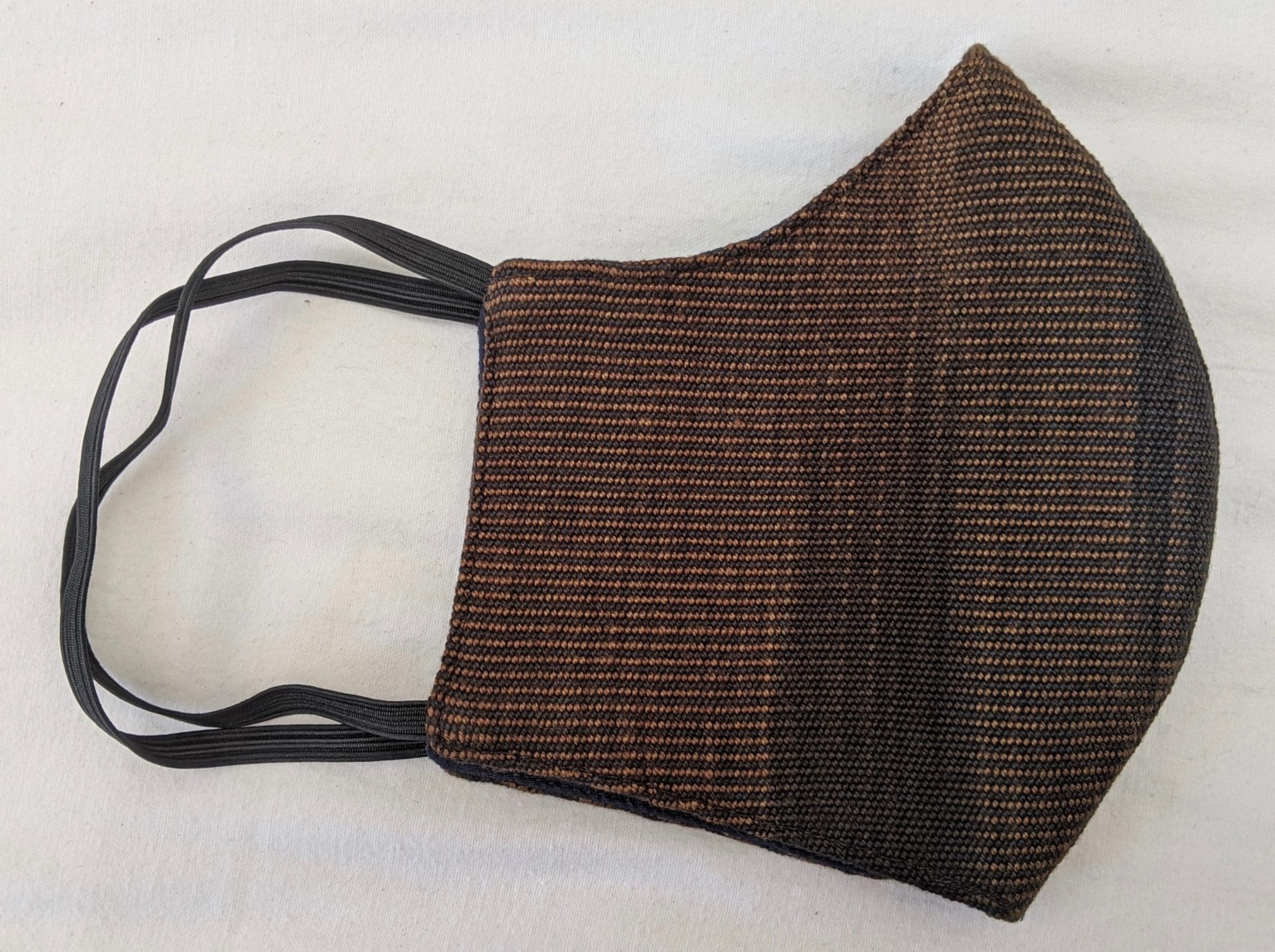 Handwoven Lightweight Bamboo Face Mask with Elastic Behind Ears - Browns and Black