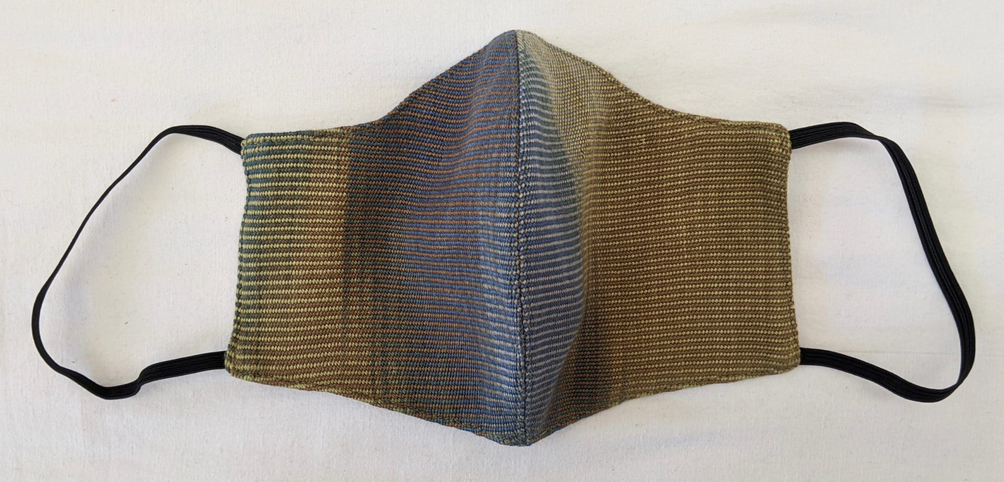 Handwoven Lightweight Bamboo Face Mask with Elastic Behind Ears - Blue, Olive, Gray, Brown