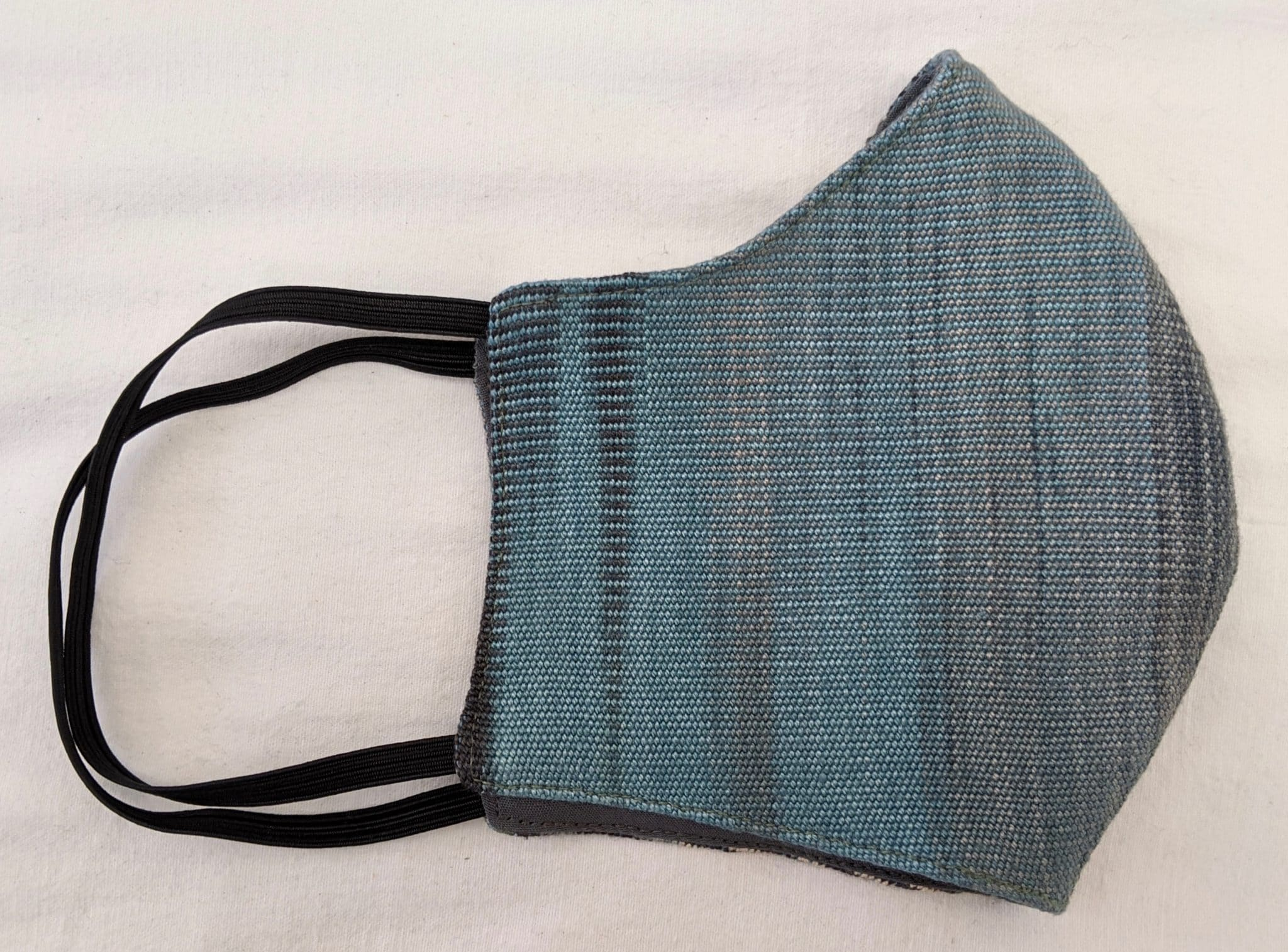 Handwoven Lightweight Bamboo Face Mask with Elastic Behind Ears - Denim (Blue, Black, Cream Gray)