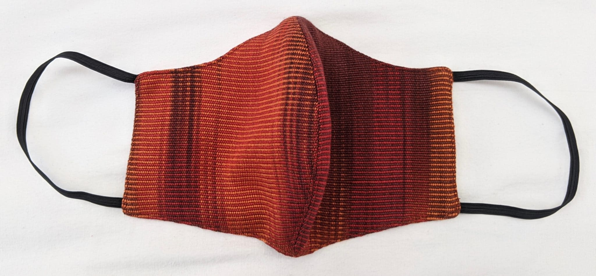 Handwoven Lightweight Bamboo Face Mask with Elastic Behind Ears - Rich Reds, Copper