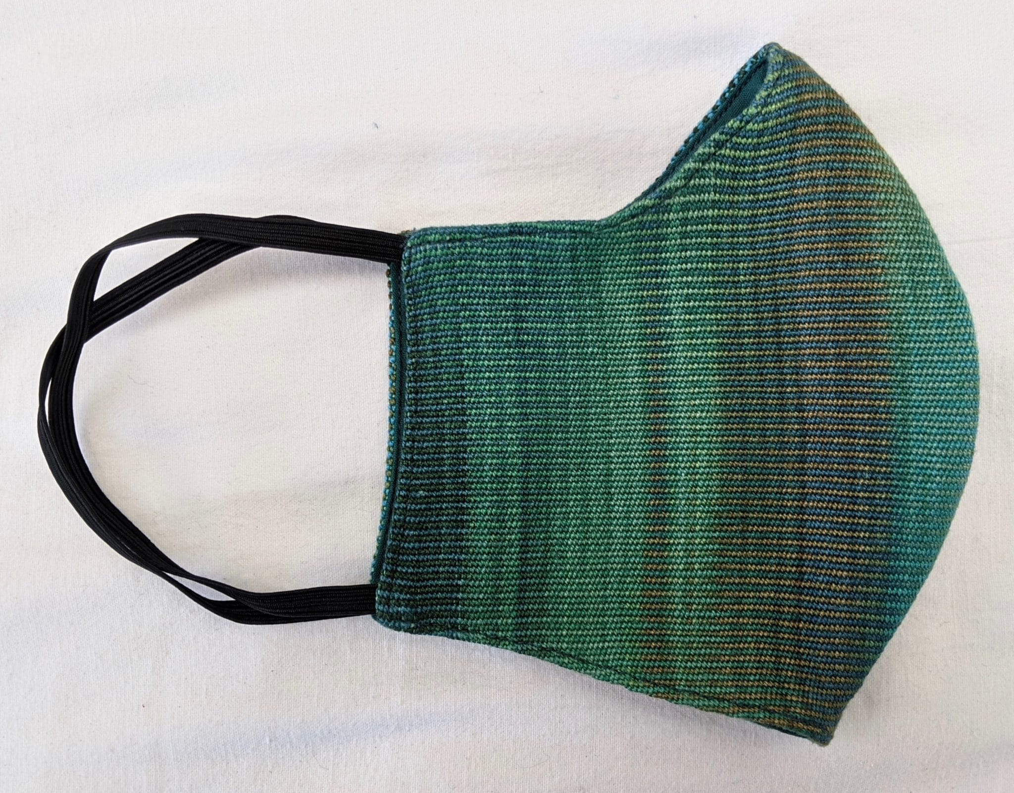Handwoven Lightweight Bamboo Face Mask with Elastic Behind Ears - Greens, Blue, Coffee