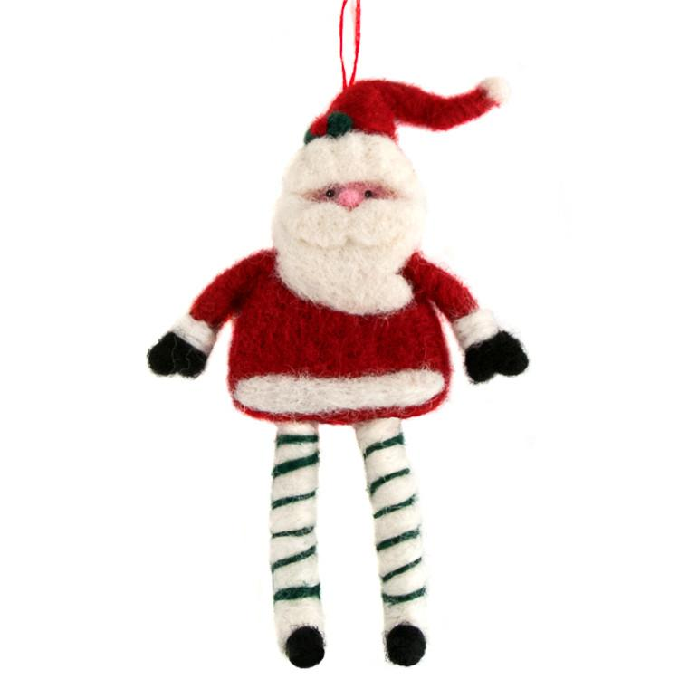 Dancing Santa Felted Ornament