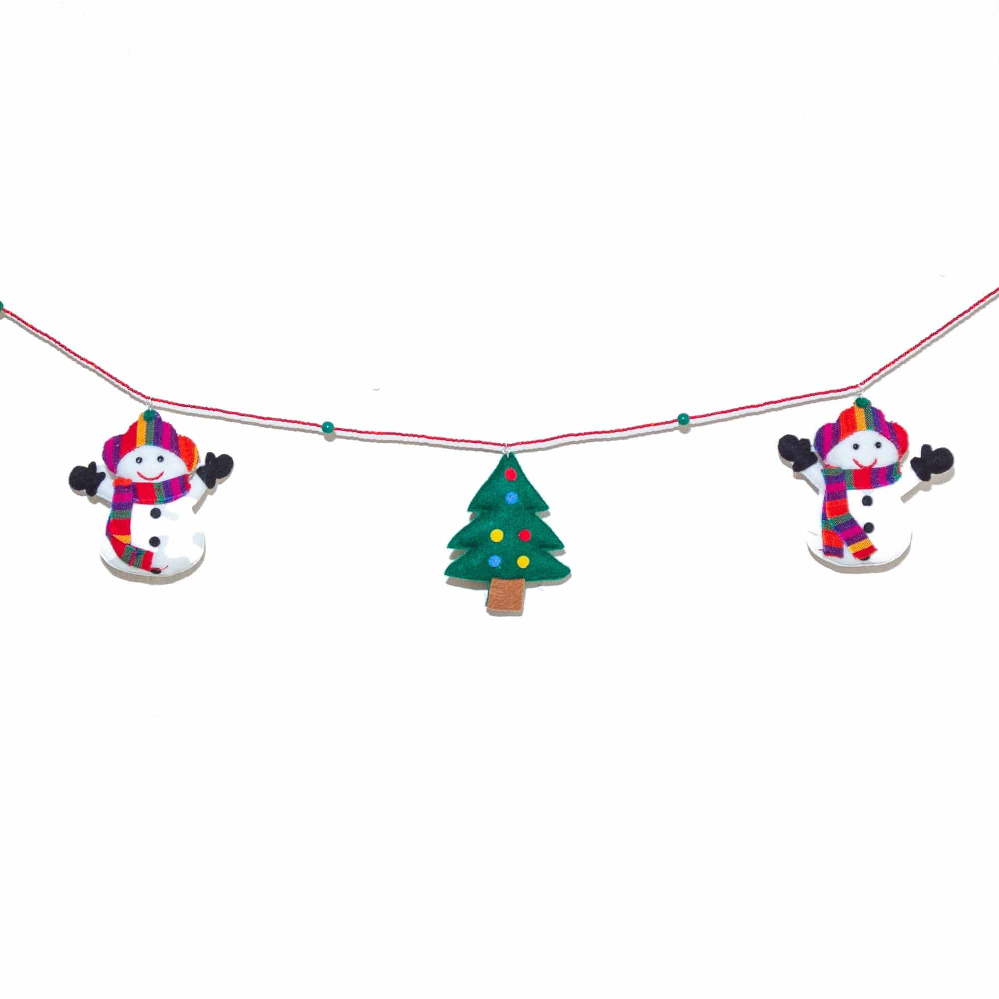 Snowman and Christmas Tree Garland