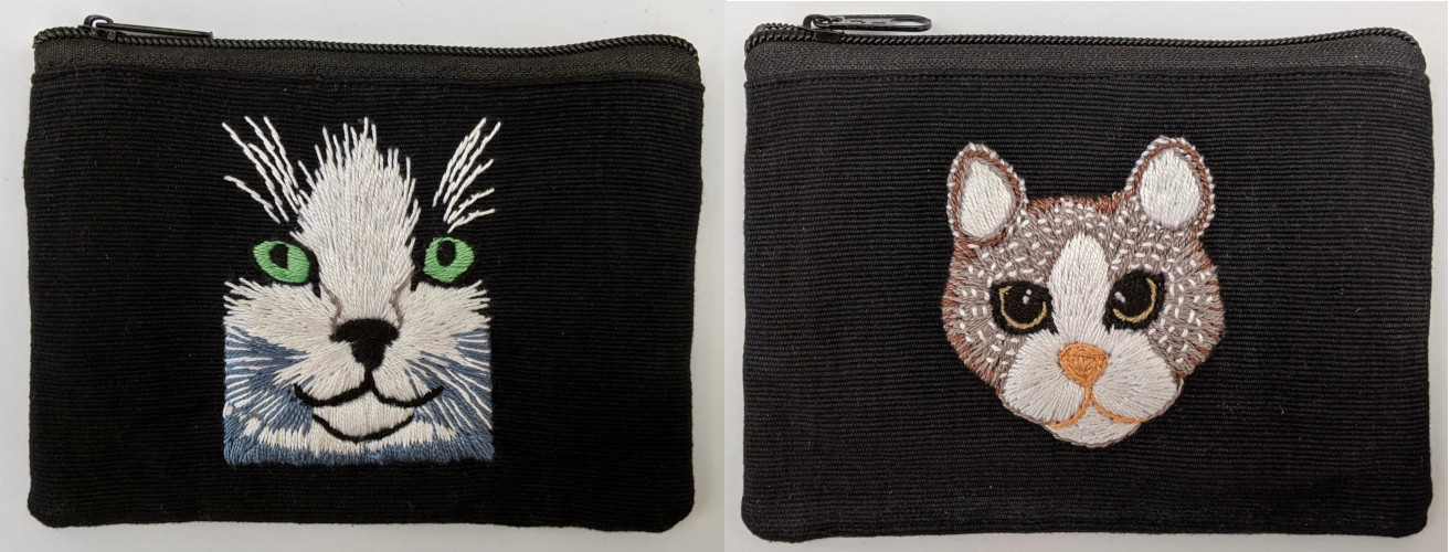 Kitty Cat Hand Embroidered Cotton Coin Purses