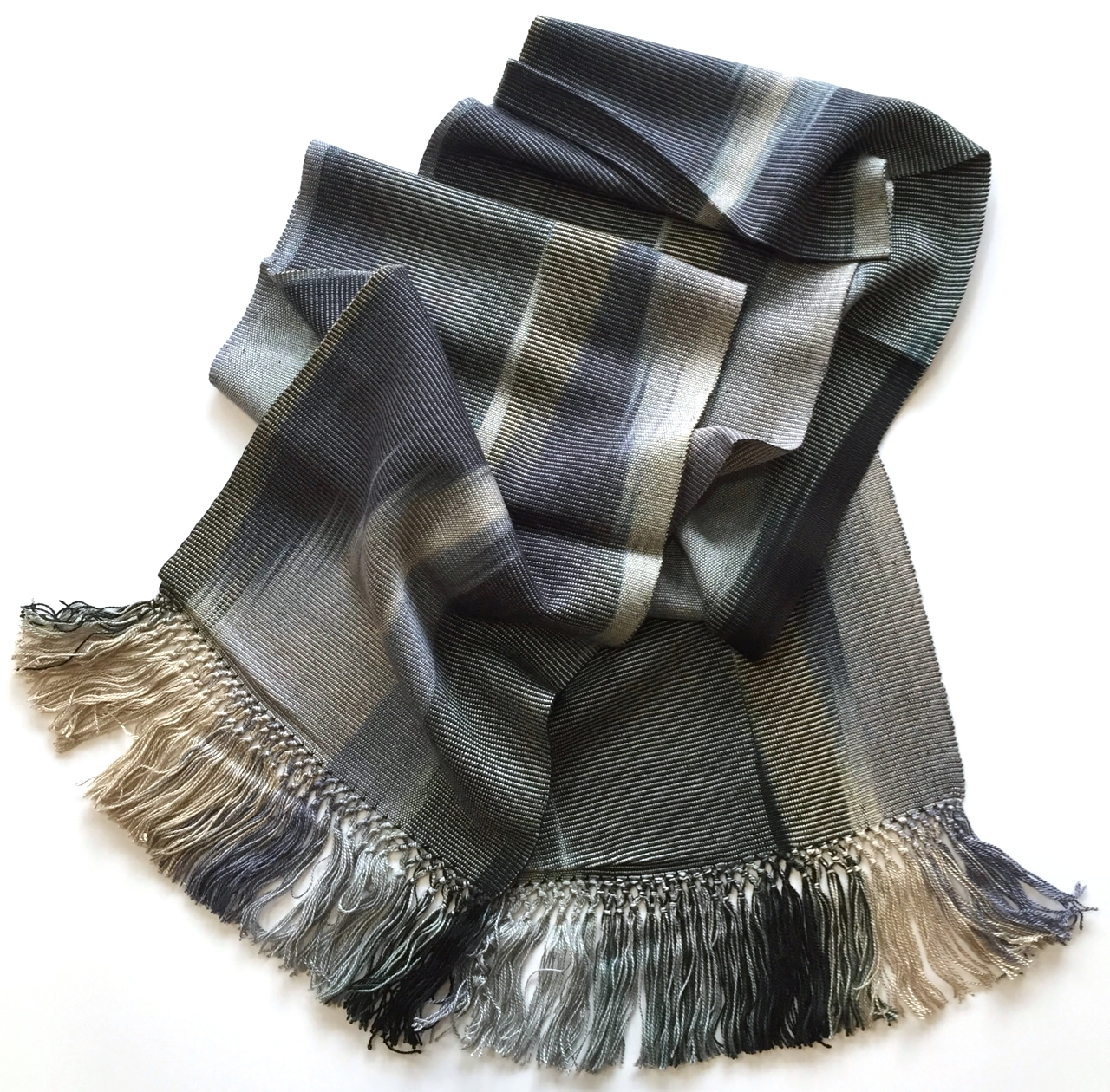 Black, Gray, Beige - Lightweight Bamboo Handwoven Scarf 8 x 68