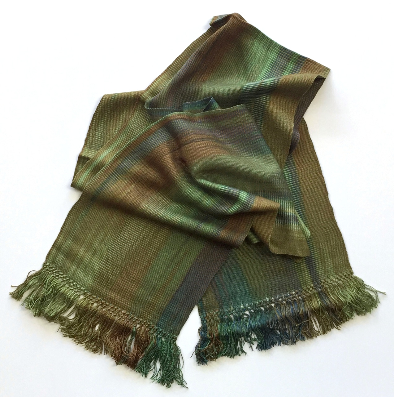 Greens, Brown, Copper - Lightweight Bamboo Handwoven Scarf 8 x 68