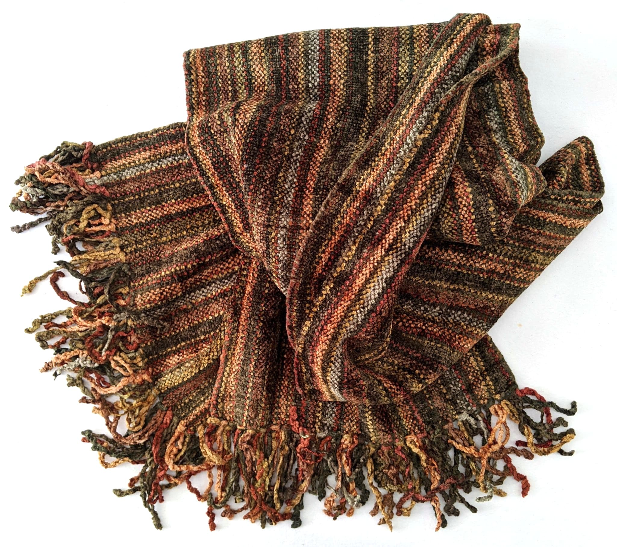 Autumn Micro Stripes Bamboo Chenille Handwoven Scarf