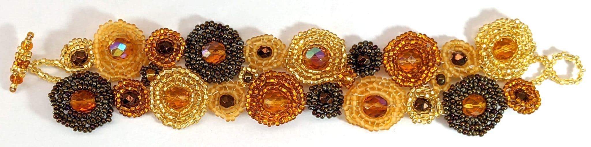 Circles Beaded Bracelet - Golds