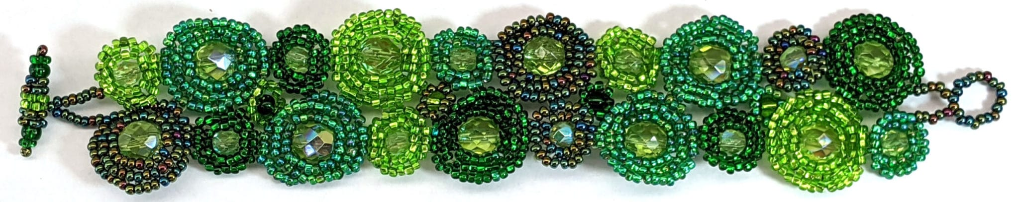 Circles Beaded Bracelet - Forest Greens