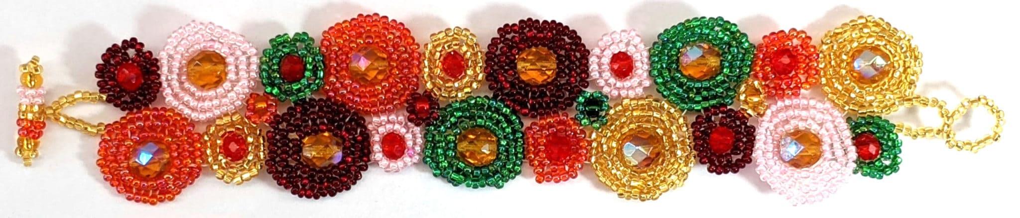 Circles Beaded Bracelet - Orange, Lime, Gold, Red