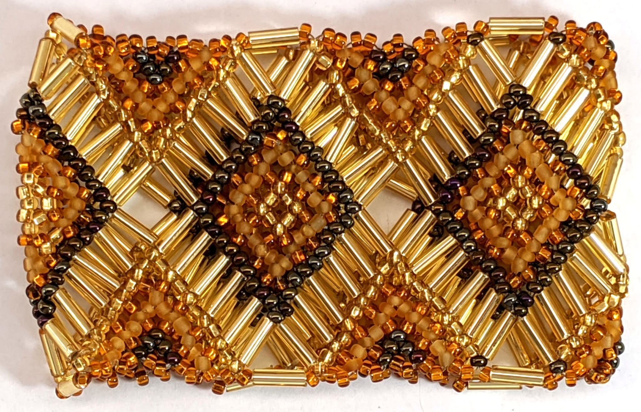 Beaded Elastic Geometric Cuff - Golds