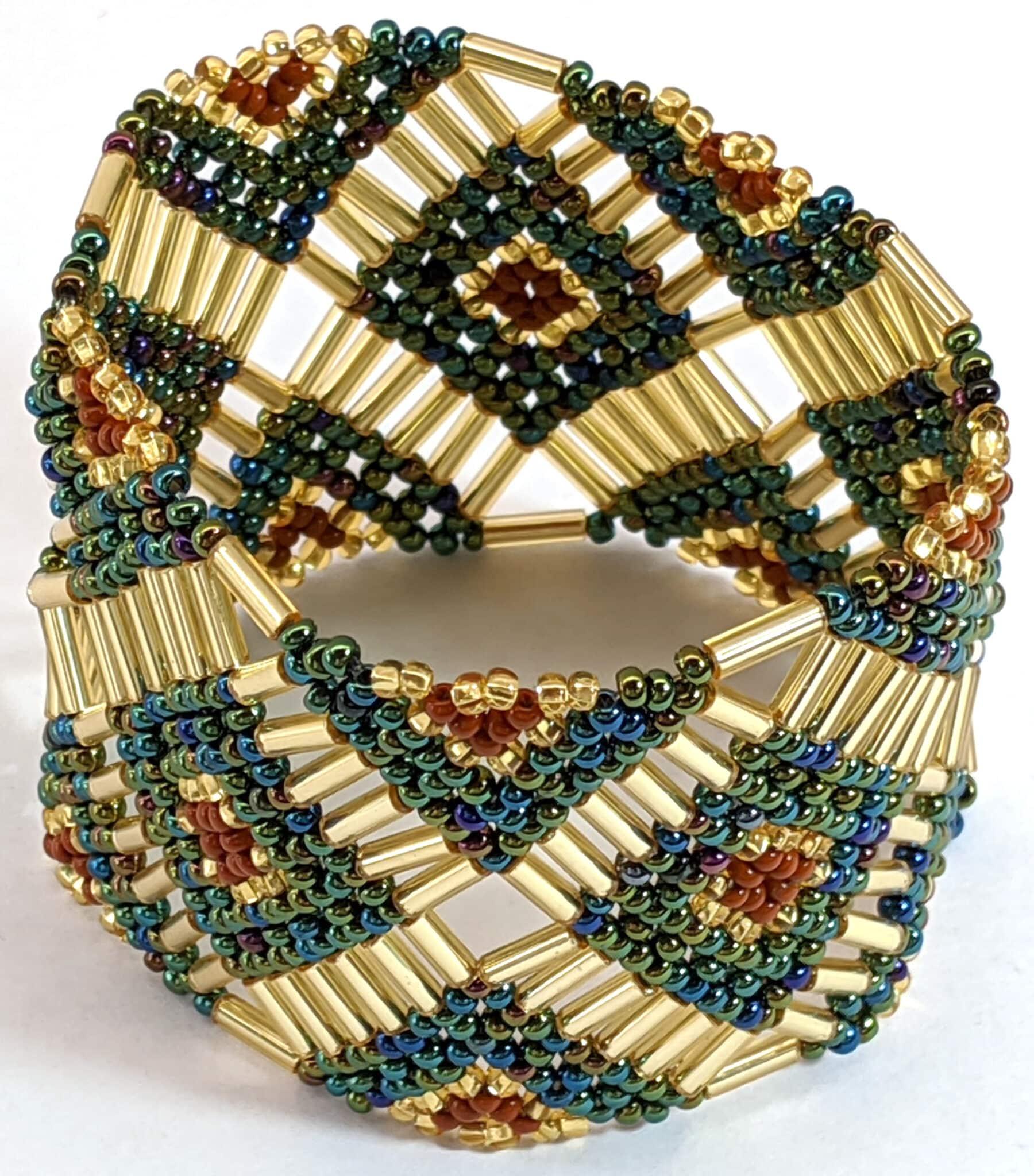 Beaded Elastic Geometric Cuff - Sophisticate Autumn - Light