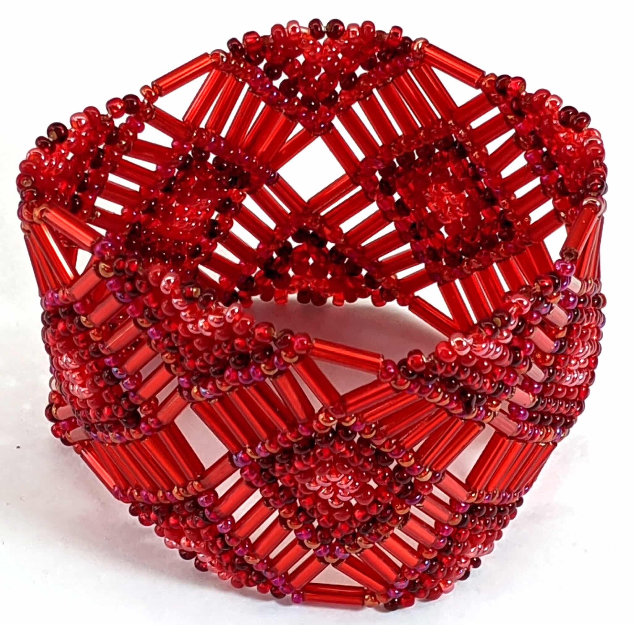 Beaded Elastic Geometric Cuff - Reds