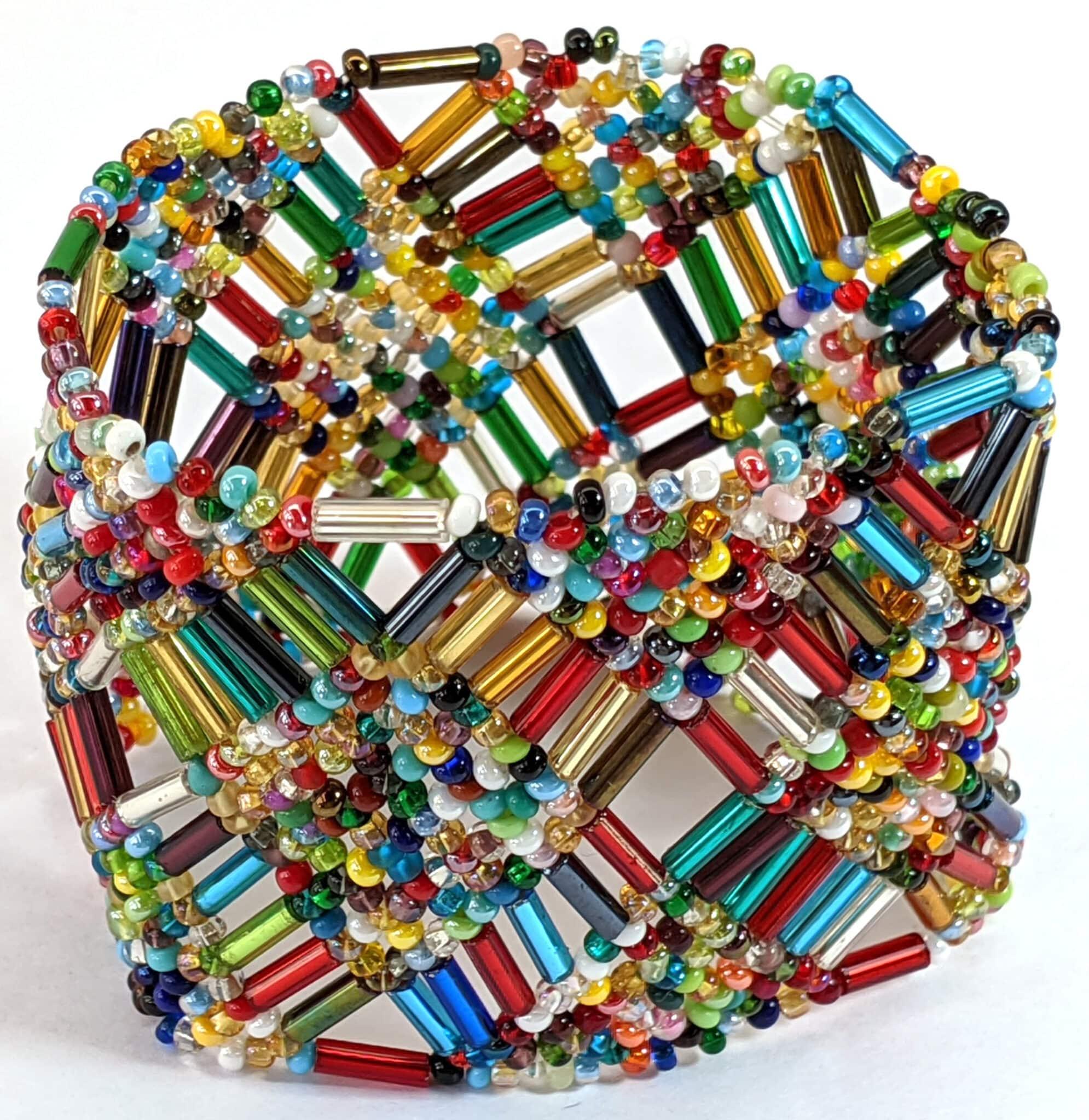 Beaded Elastic Geometric Cuff - Multi