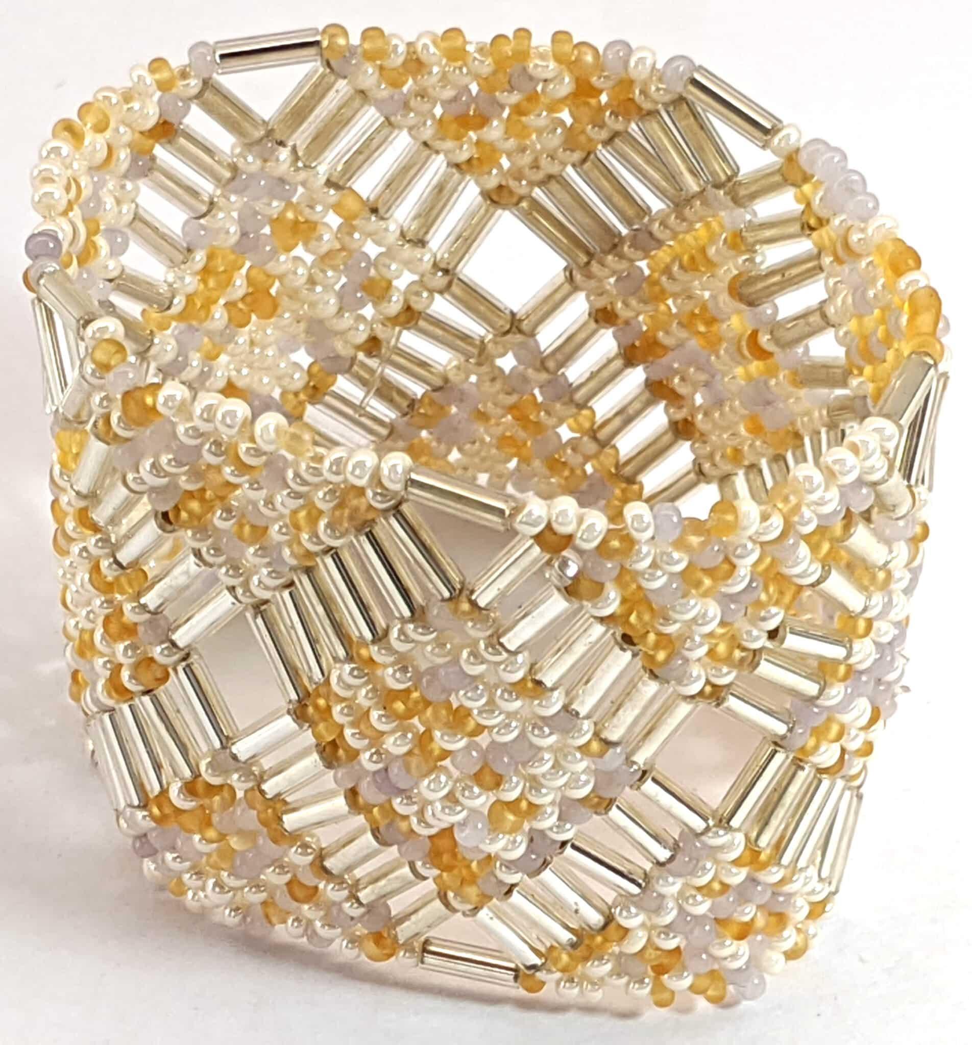 Beaded Elastic Geometric Cuff - Gold and Whites