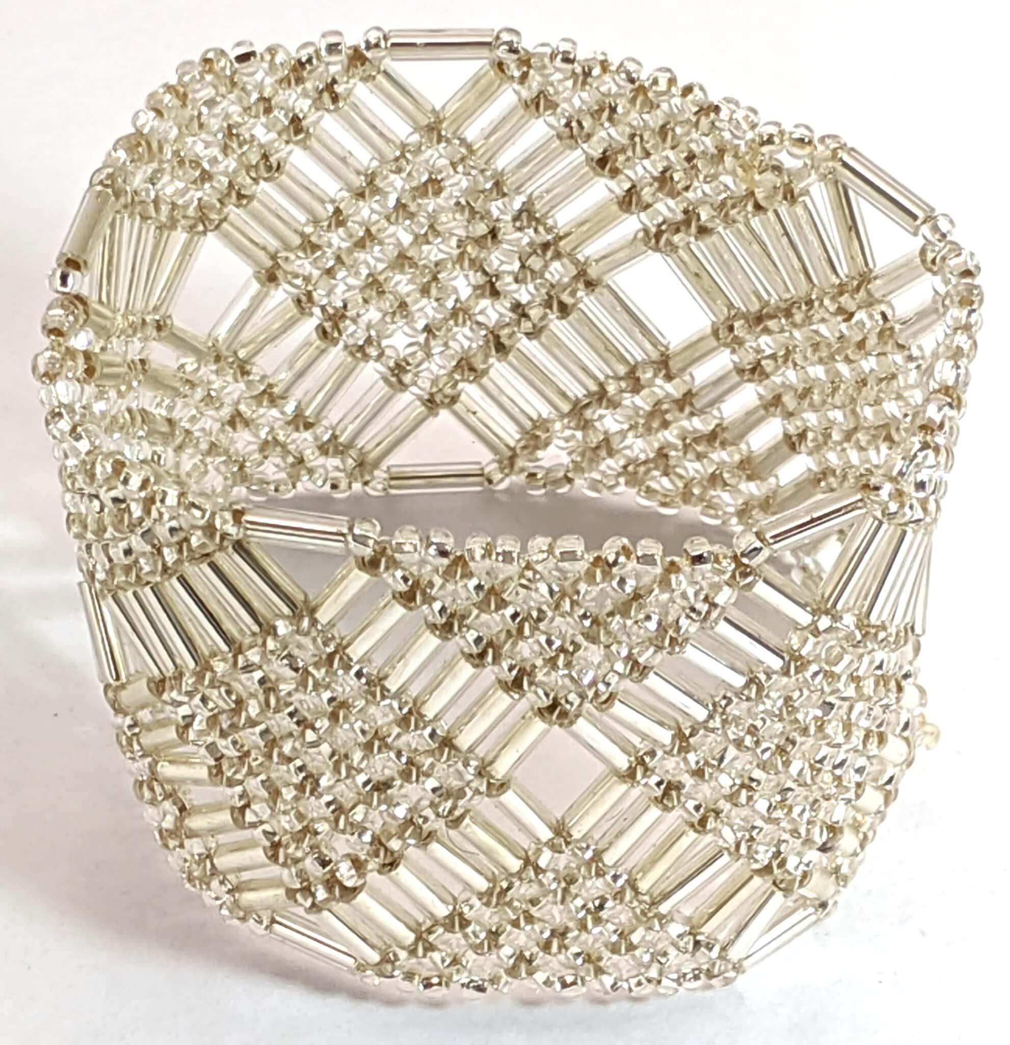 Beaded Elastic Geometric Cuff - Silver White