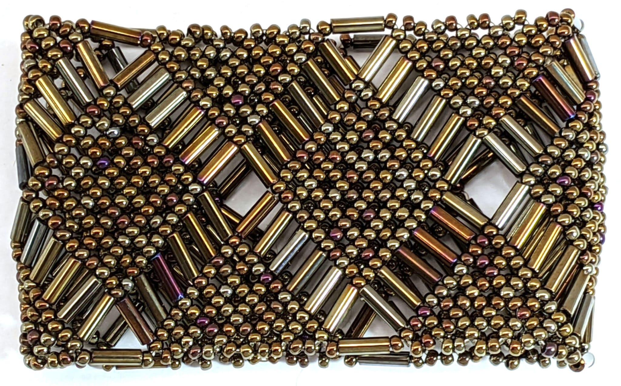 Beaded Elastic Geometric Cuff - Iridescent Brown