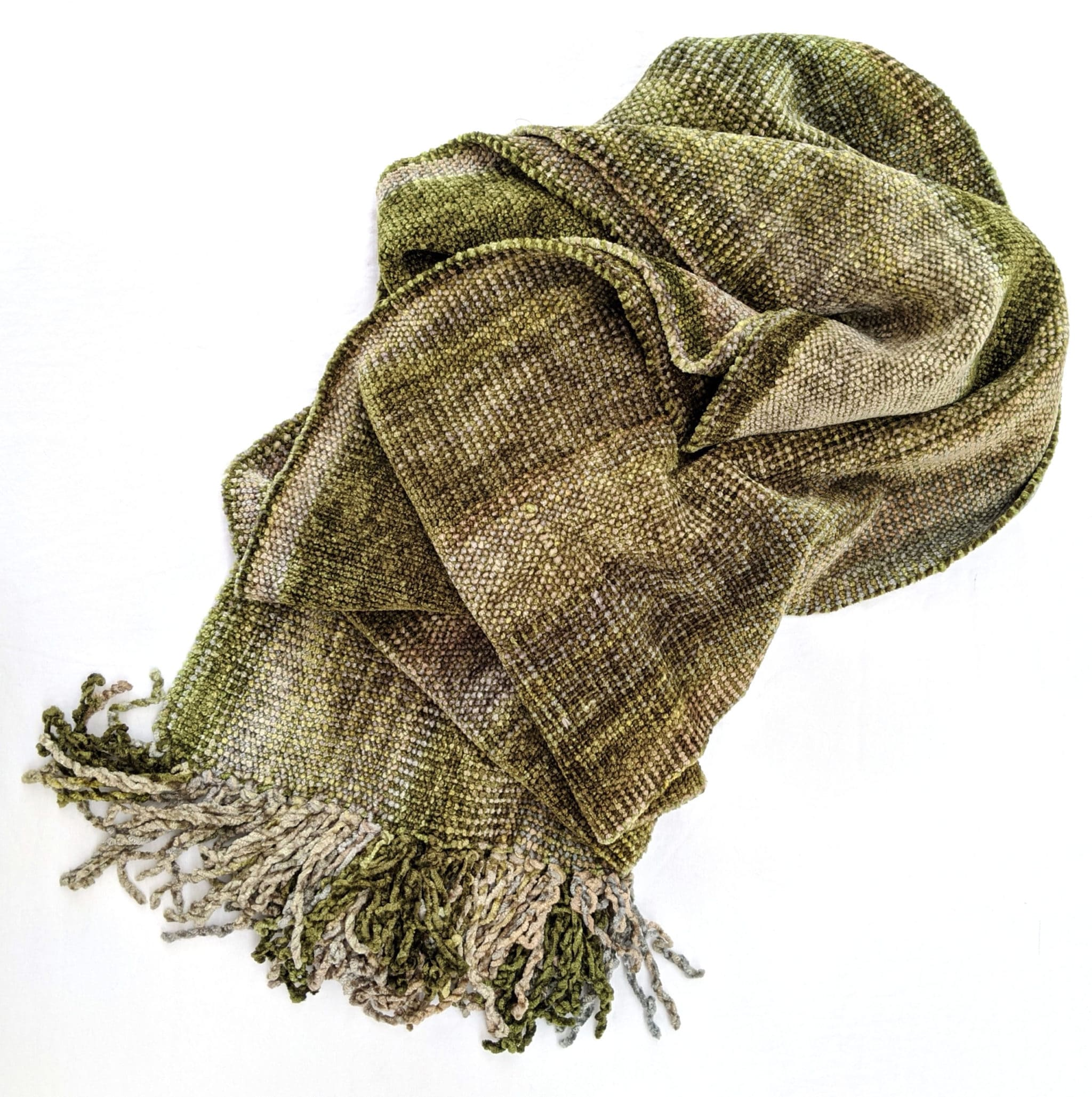 Beige, Olive - Bamboo Chenille Scarf 8 x 68