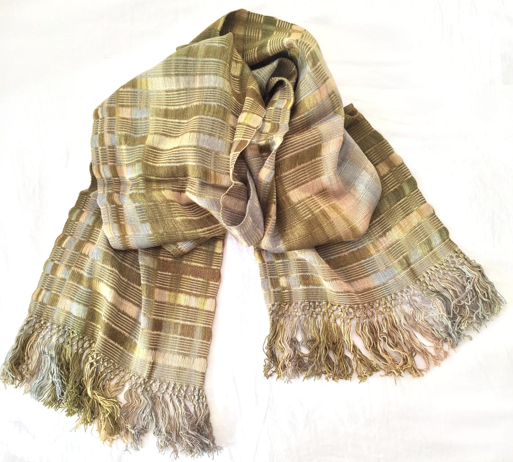 Beige, Olive - Lightweight Bamboo Handwoven Scarf 8 x 68