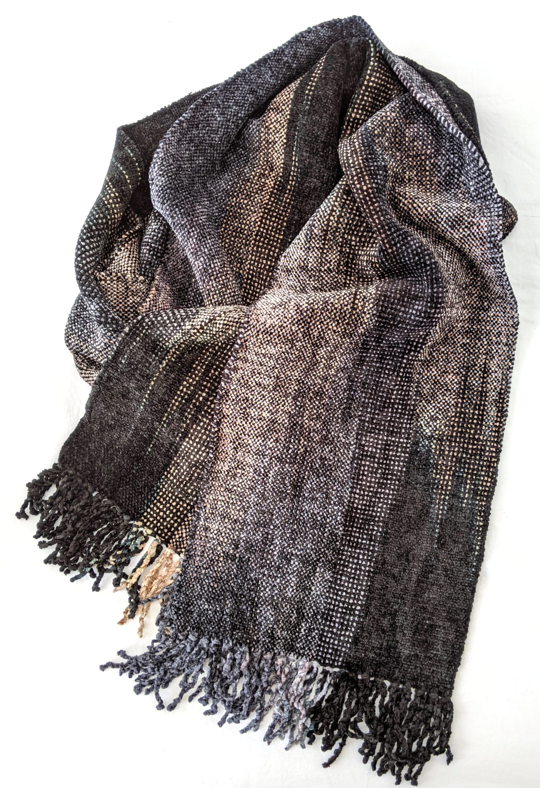 Black, Gray, Beige - Bamboo Chenille Handwoven Scarf 8 x 68