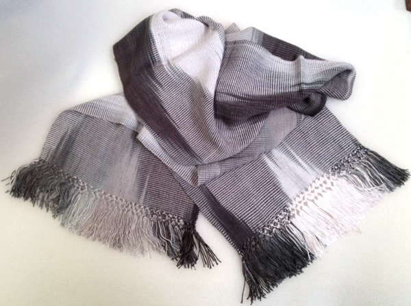 Black, White, Grays - Lightweight Bamboo Handwoven Scarf 8 x 68