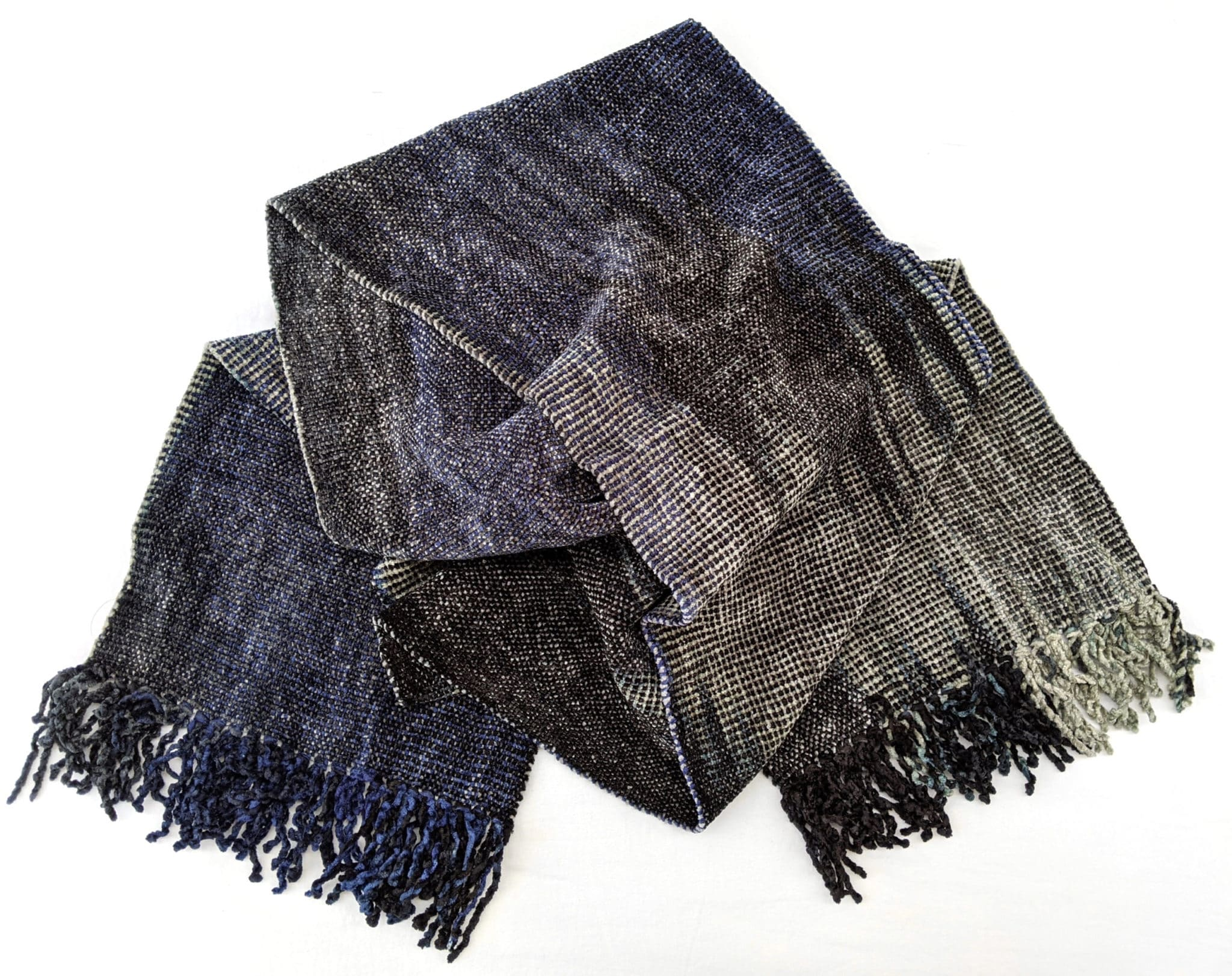 Blue, Grays, Black - Bamboo Chenille Handwoven Scarf 8 x 68