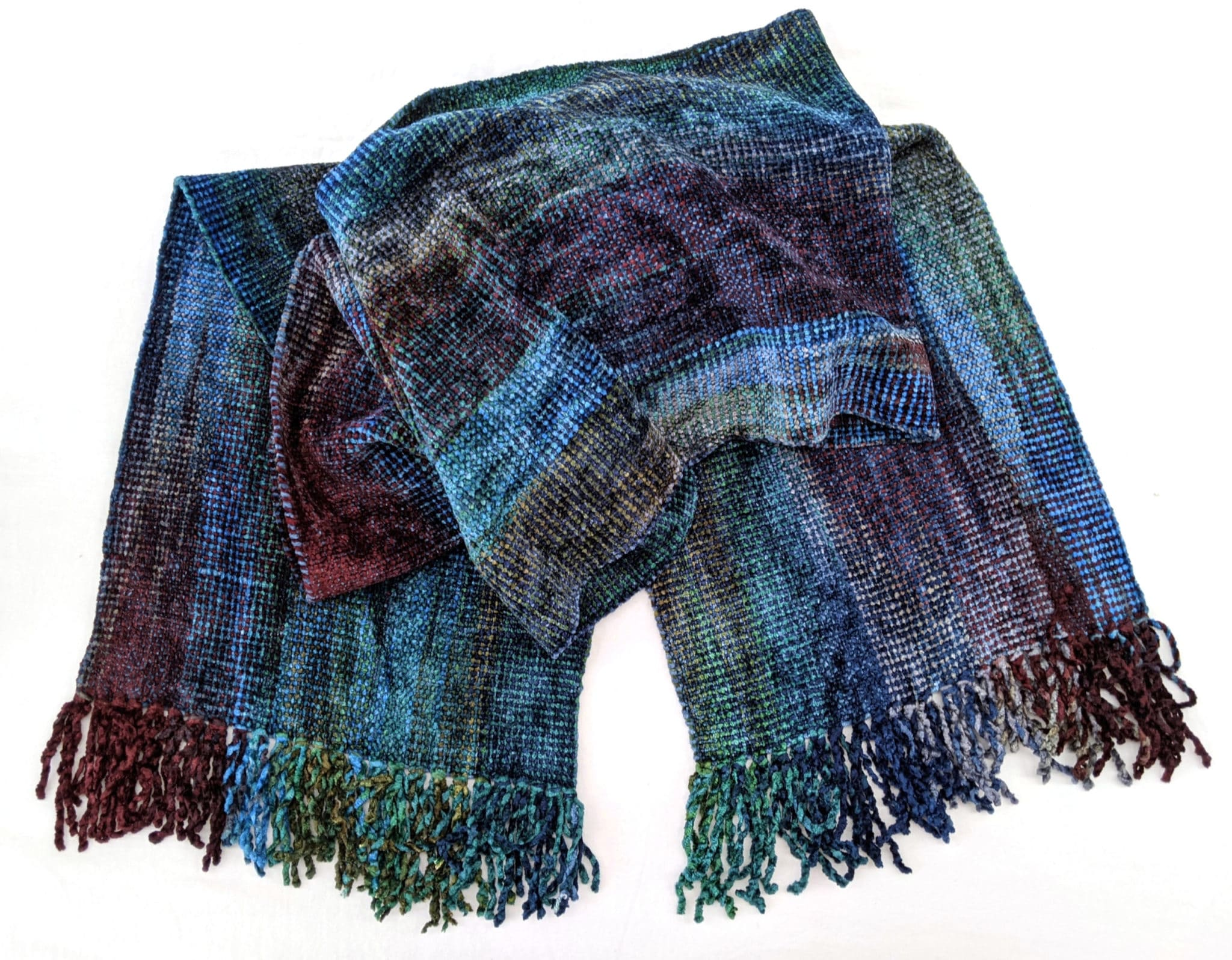 Blue, Green, Burgundy, Gray - Bamboo Chenille Handwoven Scarf 8 x 68