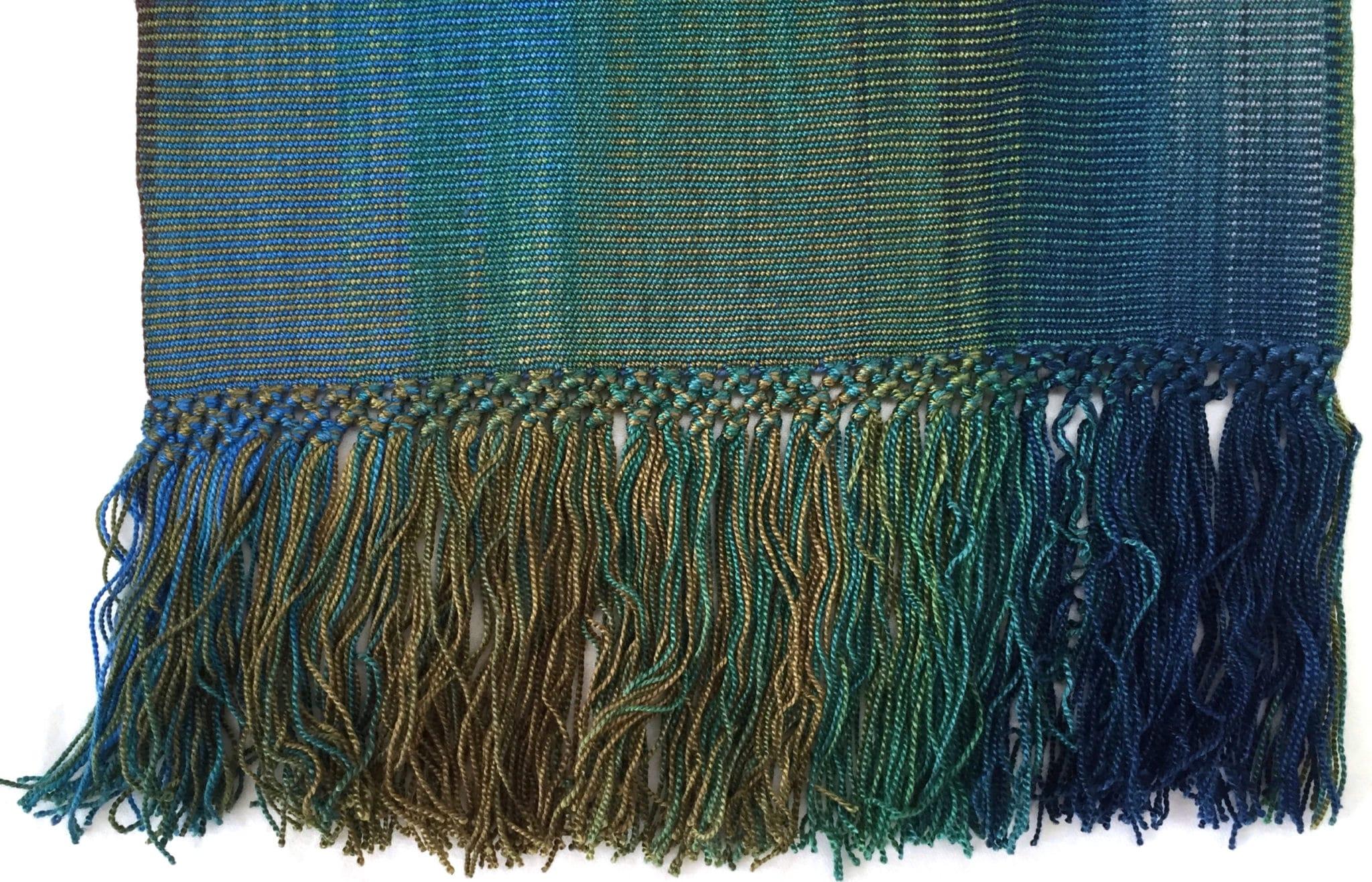 Blue, Green, Burgundy, Gray - Lightweight Bamboo Handwoven Scarf 8 x 68
