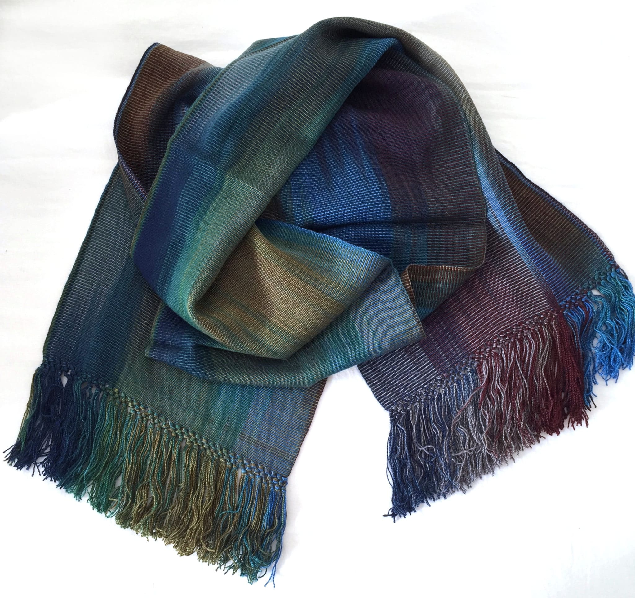 Blue, Green, Burgundy, Gray - Lightweight Bamboo Handwoven Scarf 8 x 68