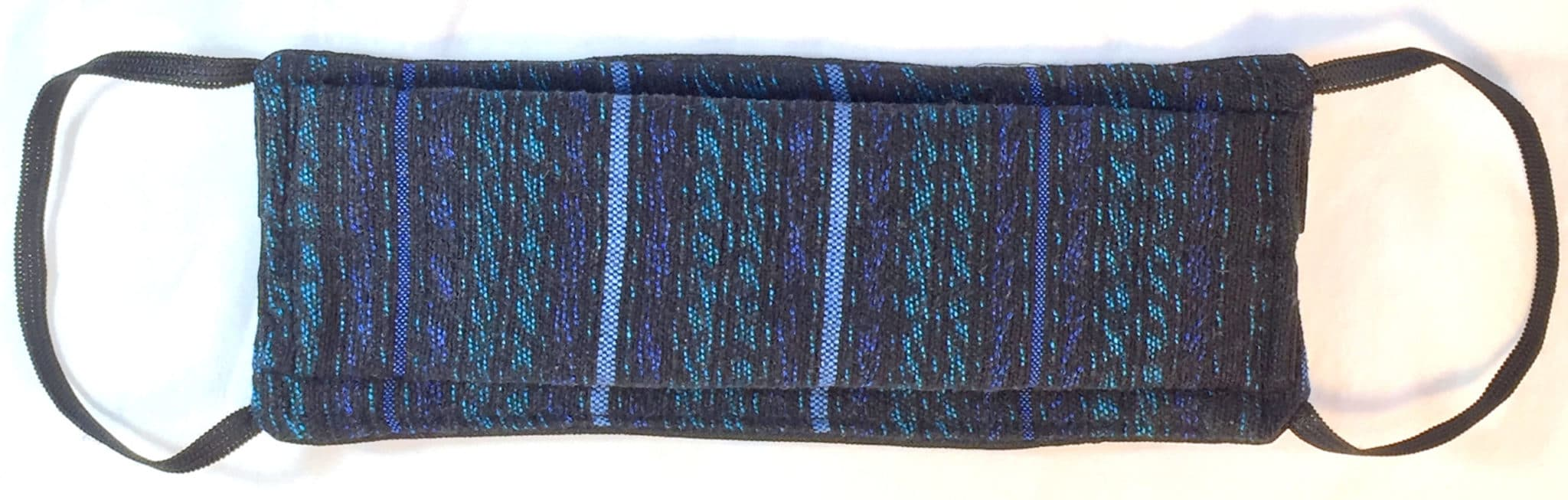 Sapphire, Emerald and Black Jaspe Handwoven Pleated Cotton Mask