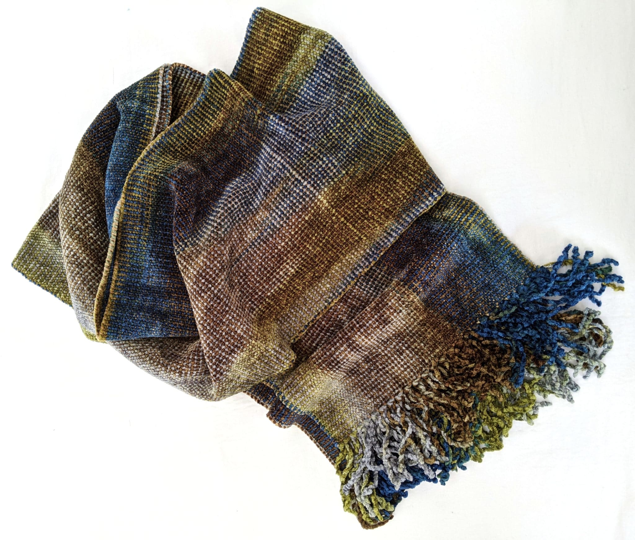 Blue, Olive, Gray, Brown - Bamboo Chenille Handwoven Scarf 8 x 68