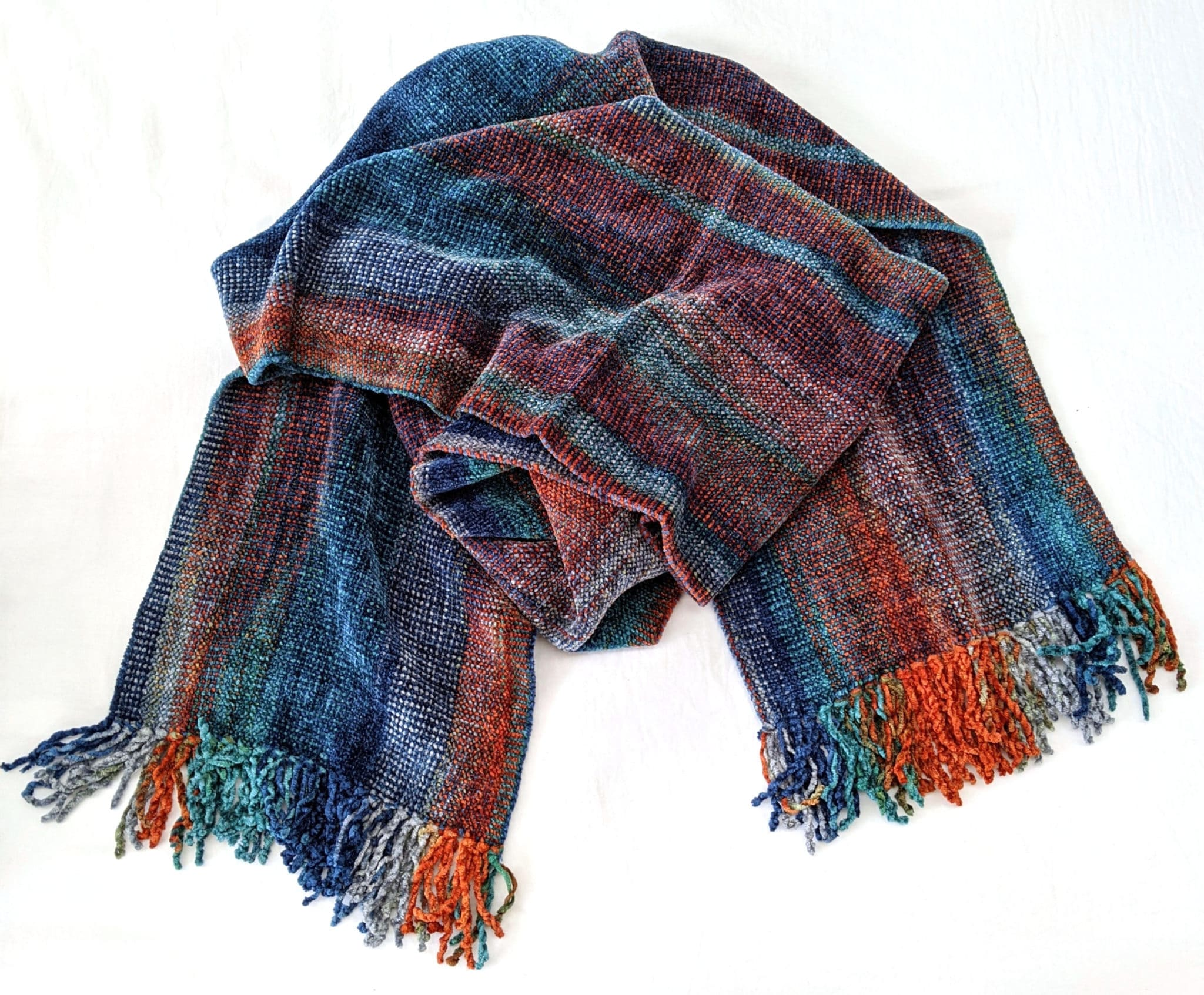 Blue, Orange, Gray - Bamboo Chenille Handwoven Scarf 8 x 68