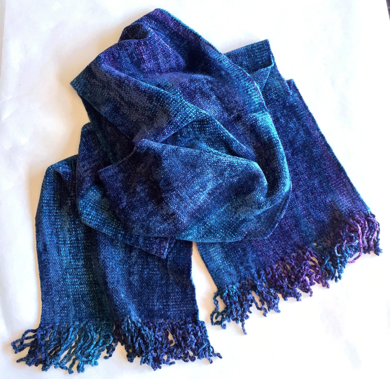 Blues, Purples - Bamboo Chenille Handwoven Scarf 8 x 68