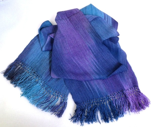 Blues, Purples - Lightweight Bamboo Handwoven Scarf 8 x 68