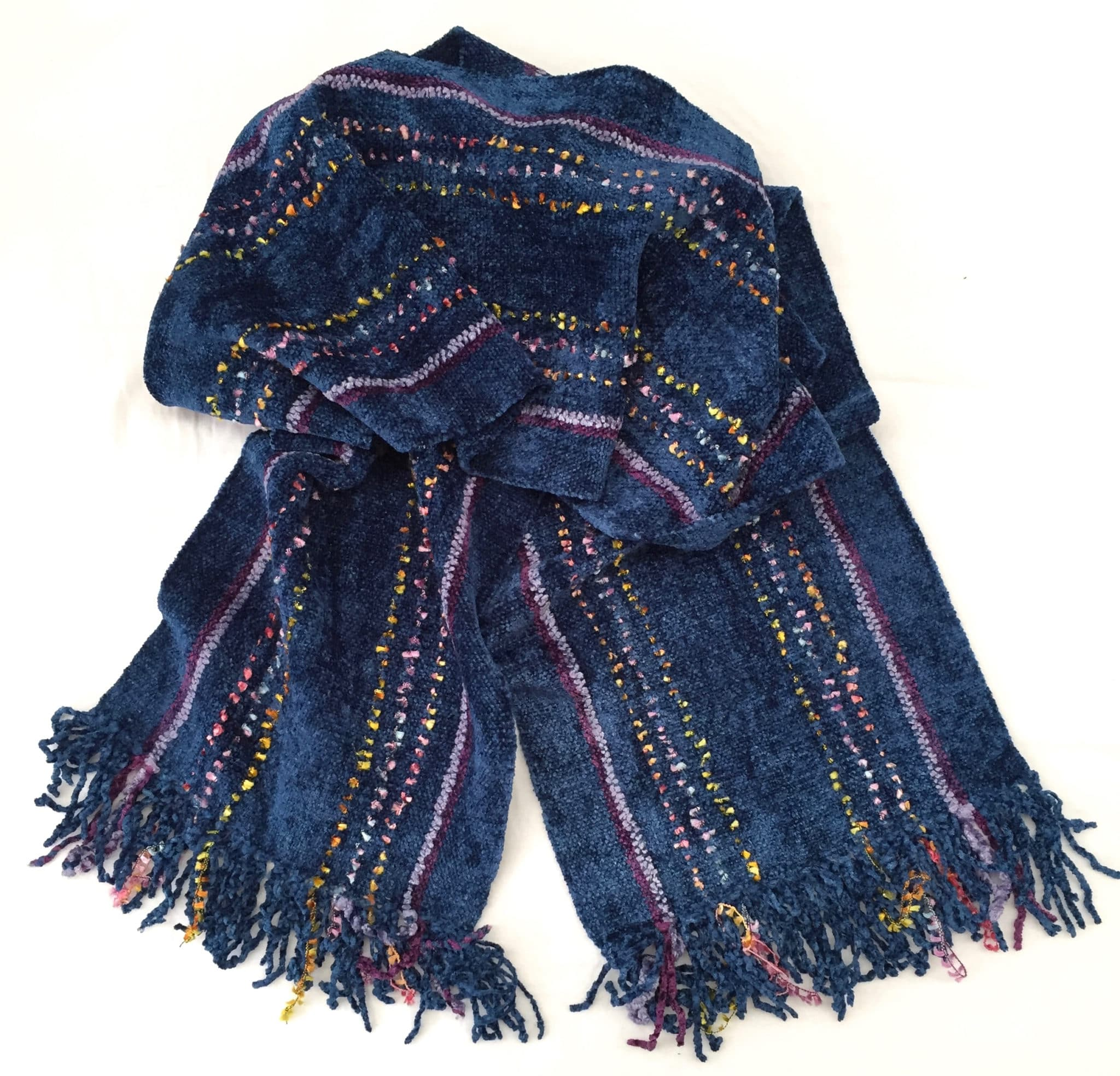 Blue with Rainbow Ornamental Yarn and Purple Microstripes - Bamboo Chenille Handwoven Scarf 8 x 68