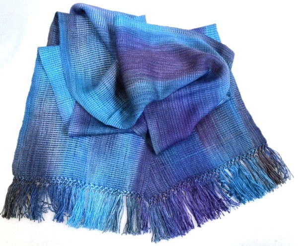 Blues, Dark Gray - Lightweight Bamboo Handwoven Scarf 8 x 68