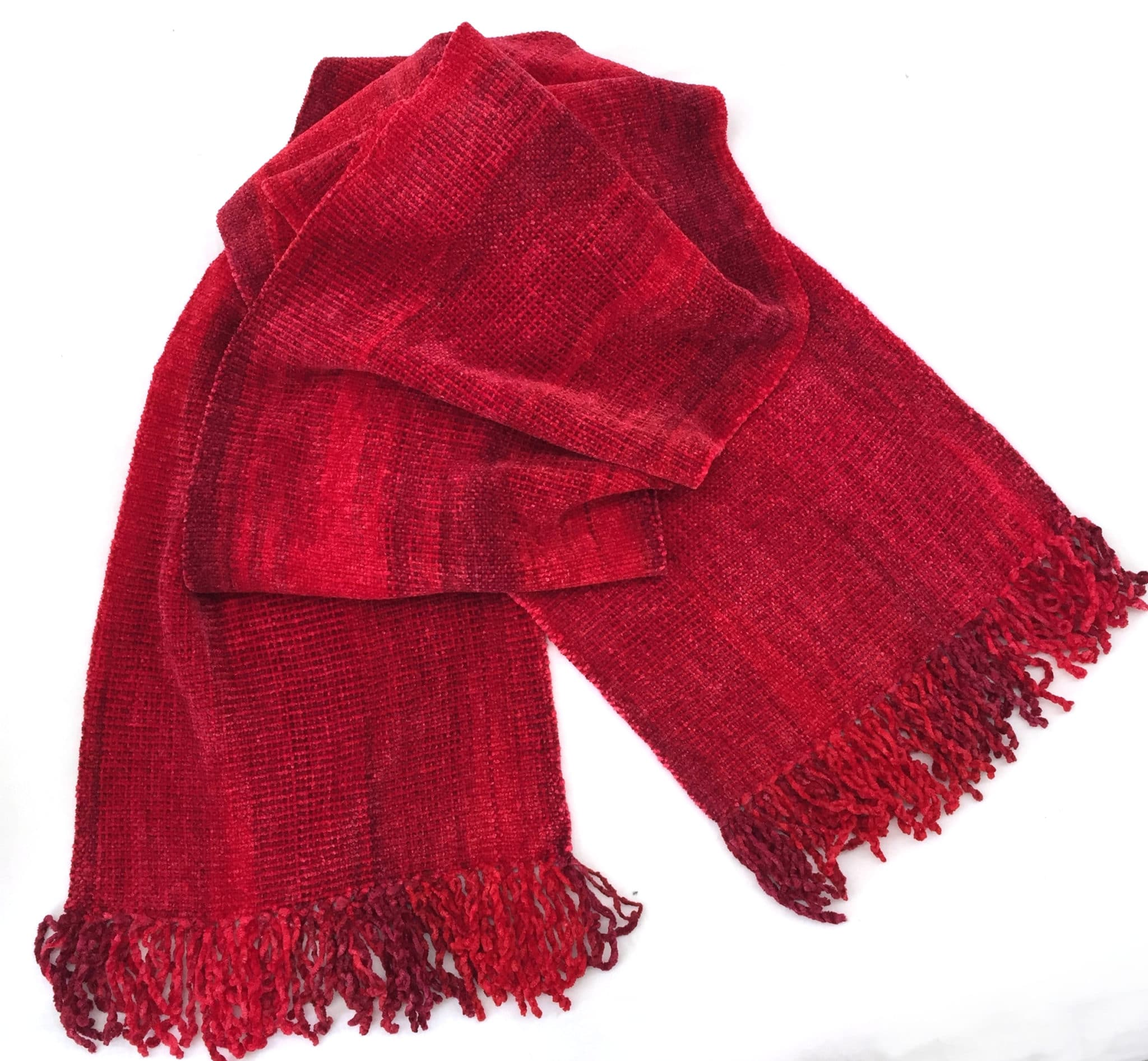 Reds (Bright!) - Bamboo Chenille Handwoven Scarf 8 x 68