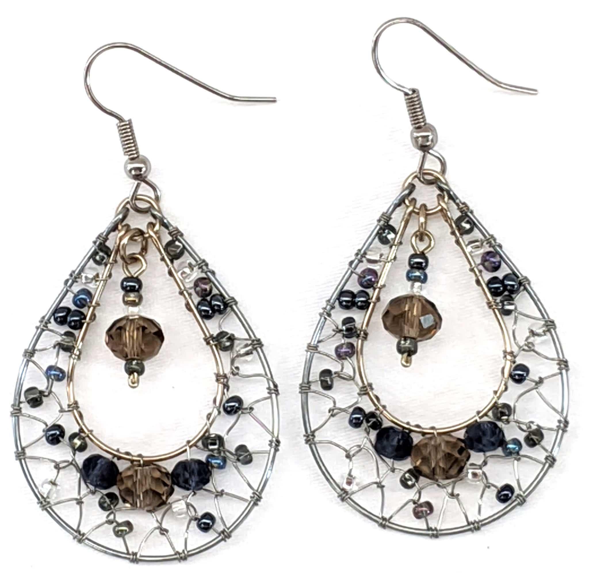 Teardrop Dreamcatcher Earrings - Grays