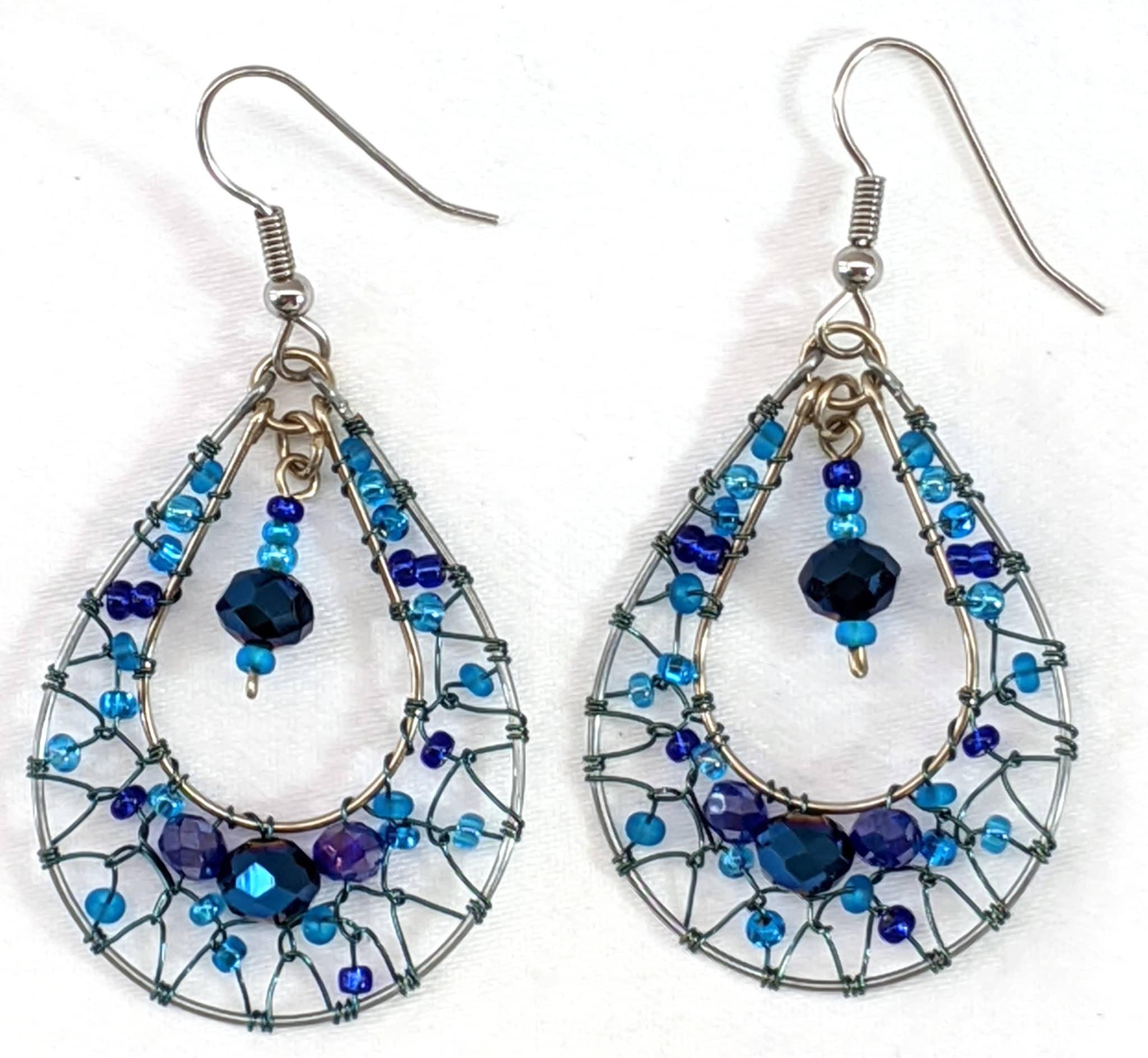 Teardrop Dreamcatcher Earrings - Blues